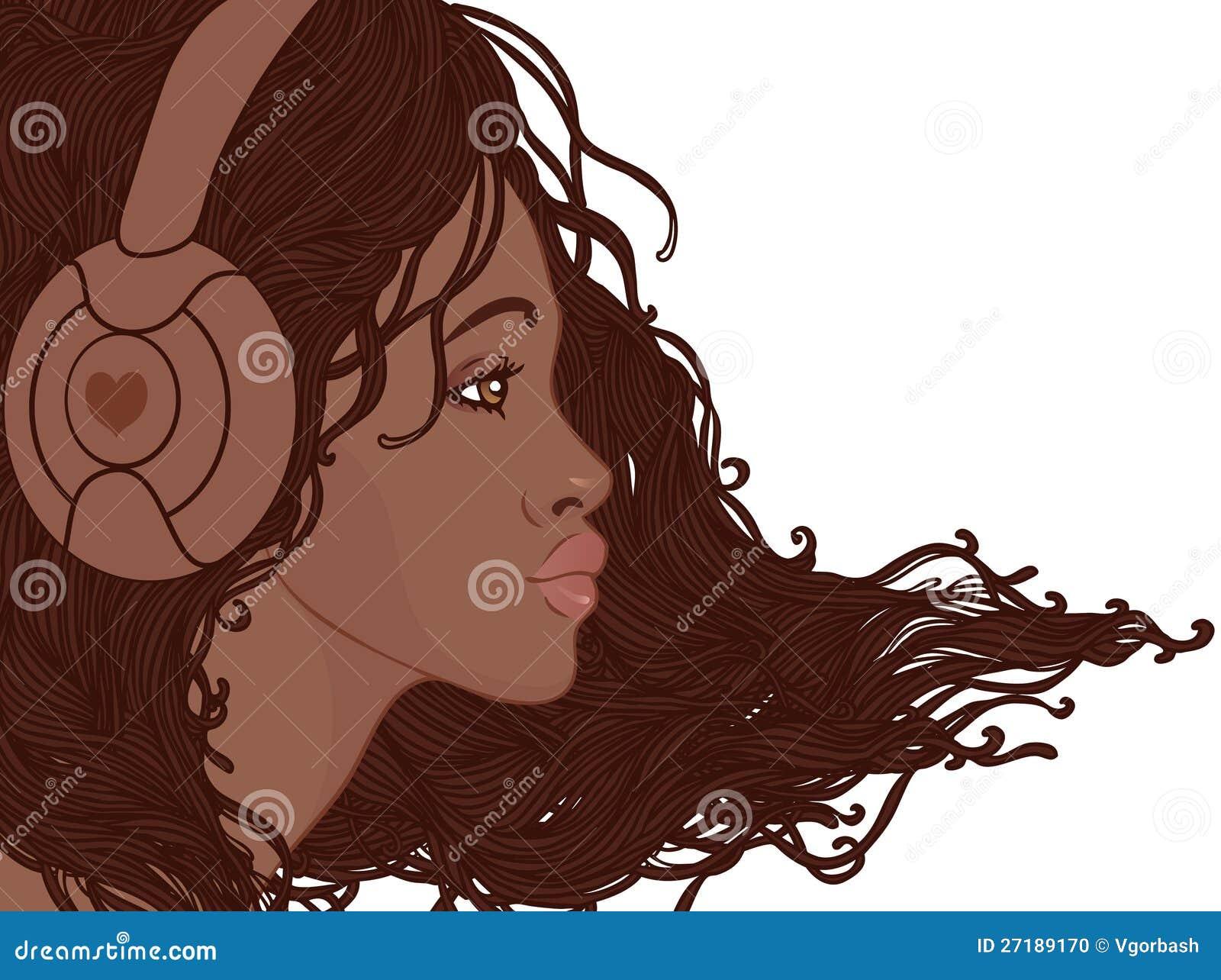 Profil ładna amerykanin afrykańskiego pochodzenia dziewczyna w hełmofonach