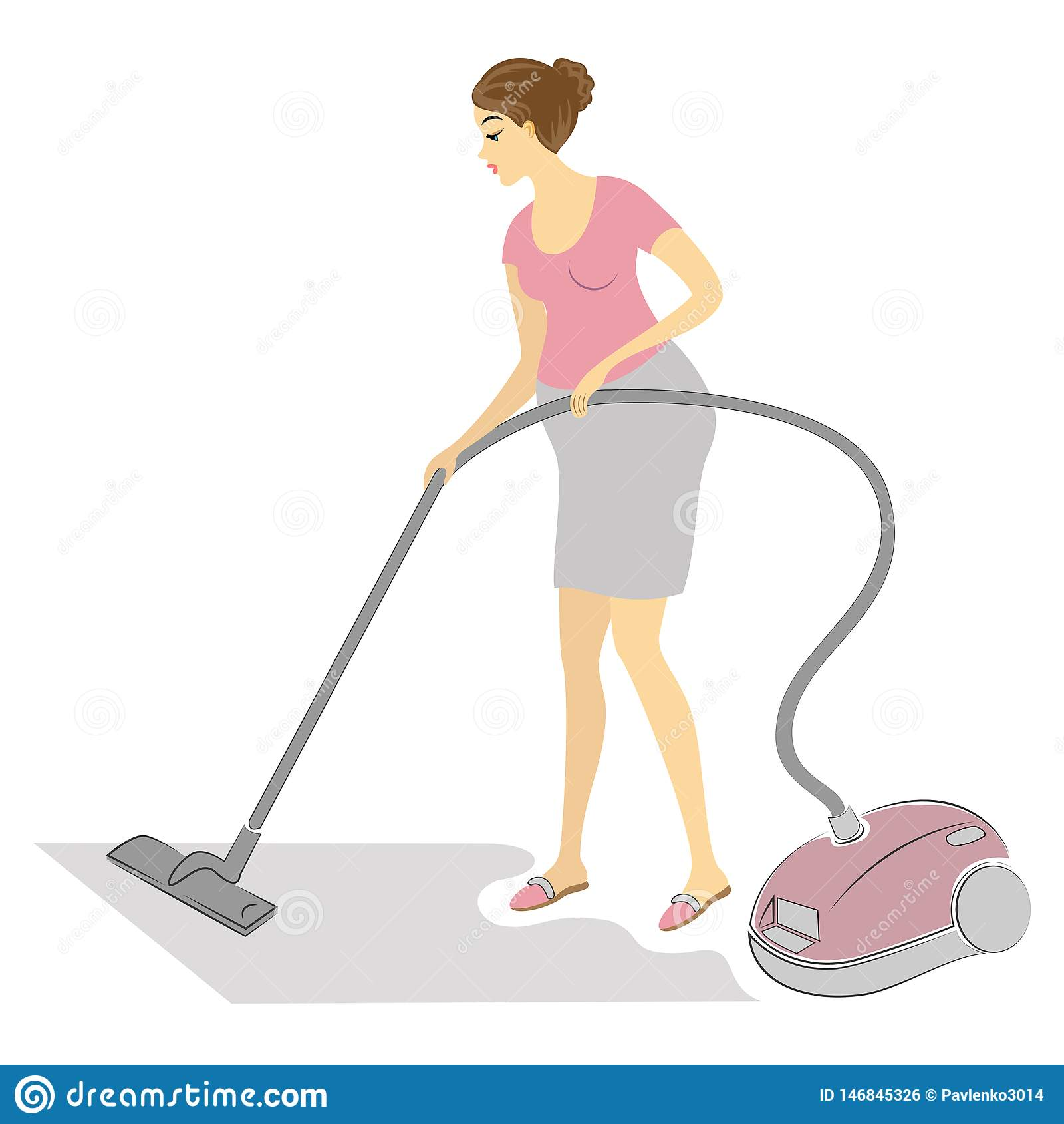 Profil av en gullig gravid dam Gör ren rummet med en dammsugare Kvinnan är en bra fru och en proper hemmafru vektor