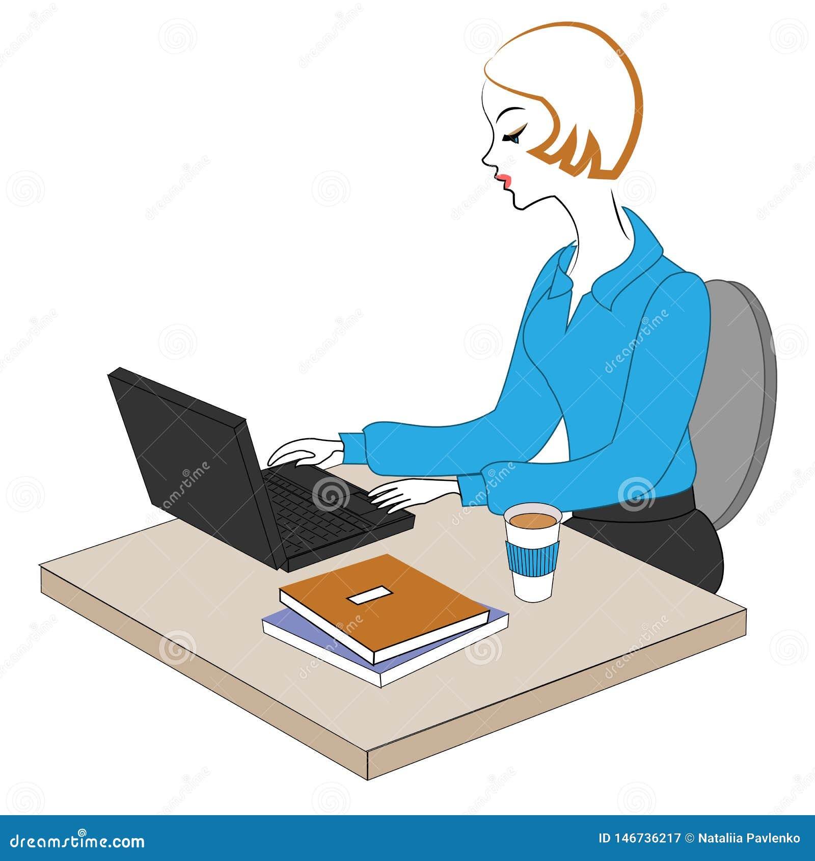 Profil av en s?t dam Unga flickan på arbete i kontoret sitter på en tabell och arbeten på datoren ocks? vektor f?r coreldrawillus