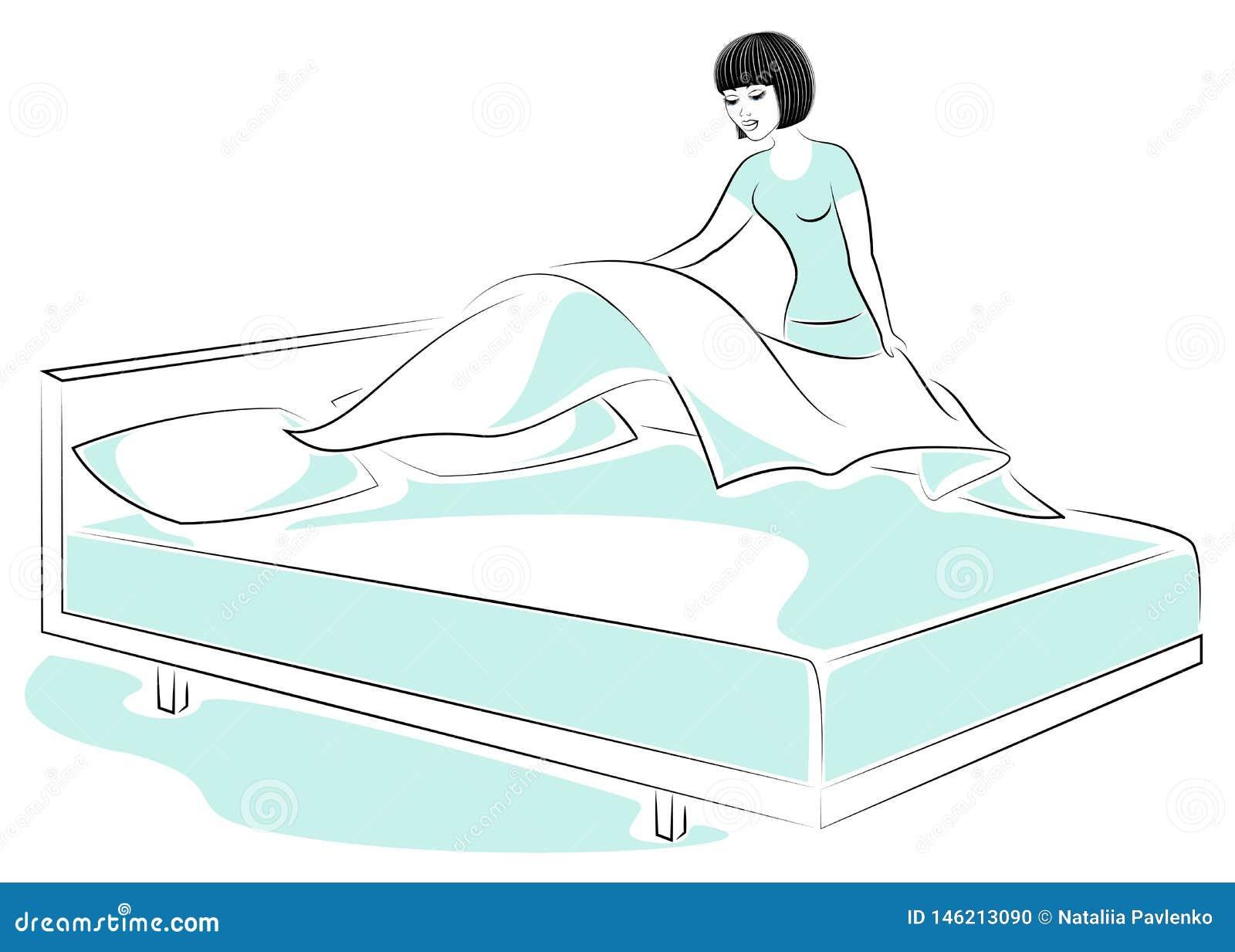 Profil d une dame douce La fille fait le lit dans la chambre Une femme est une bonne ?pouse et une femme au foyer ordonn?e Illust