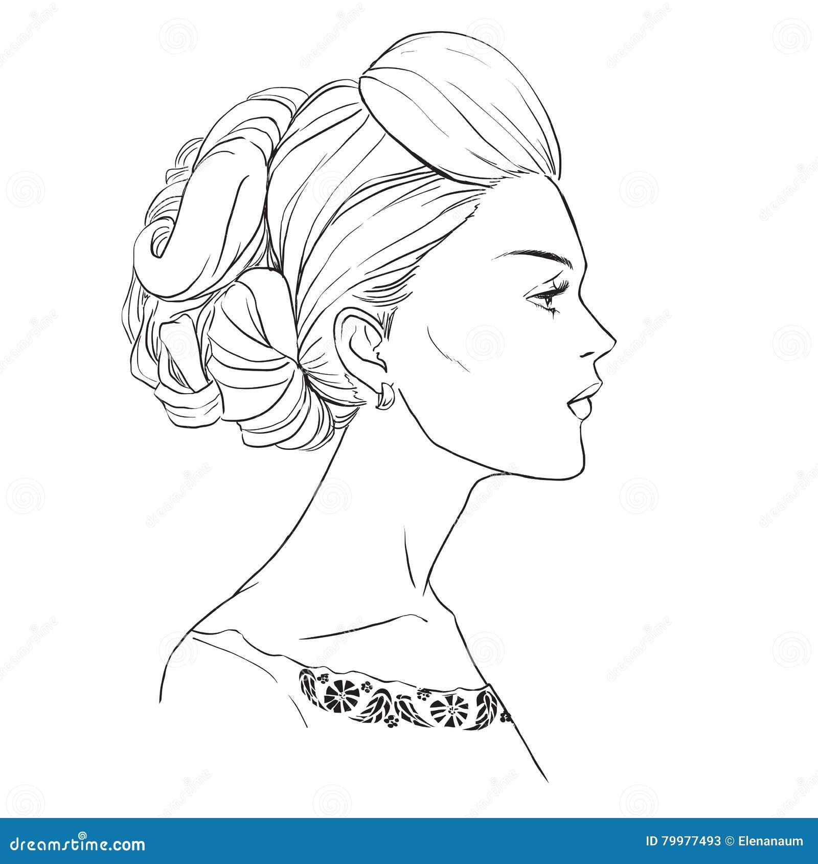 Profil De Fille Avec De Beaux Cheveux Illustration De