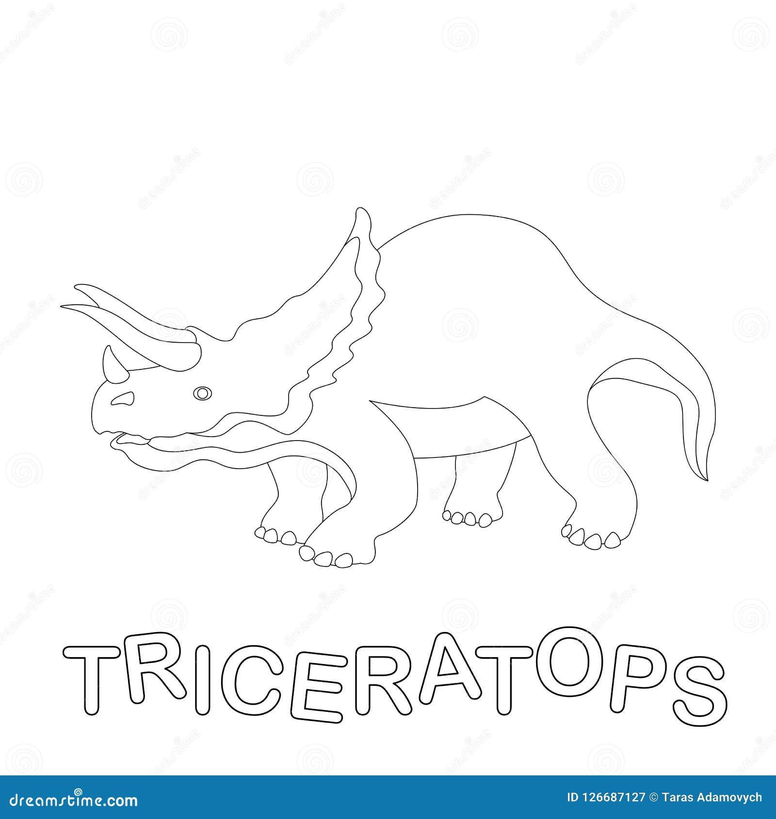 Coloriage Dinosaure Triceratops.Profil De Livre De Coloriage D Illustration De Vecteur De Dinosaure