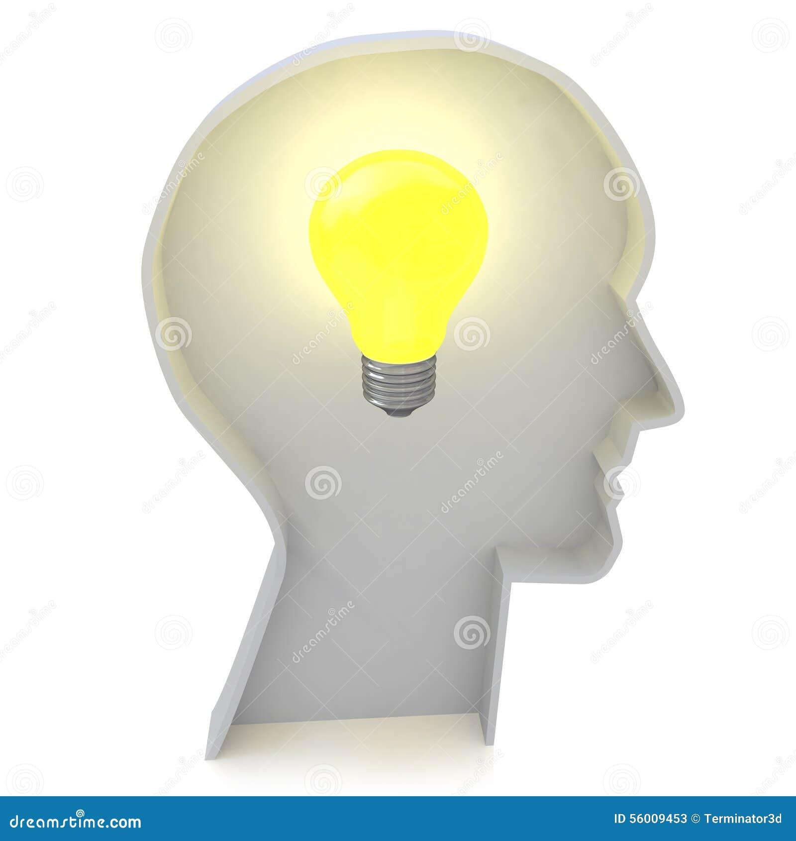 Profil de tête humaine avec une ampoule , ampoule d idées créatives