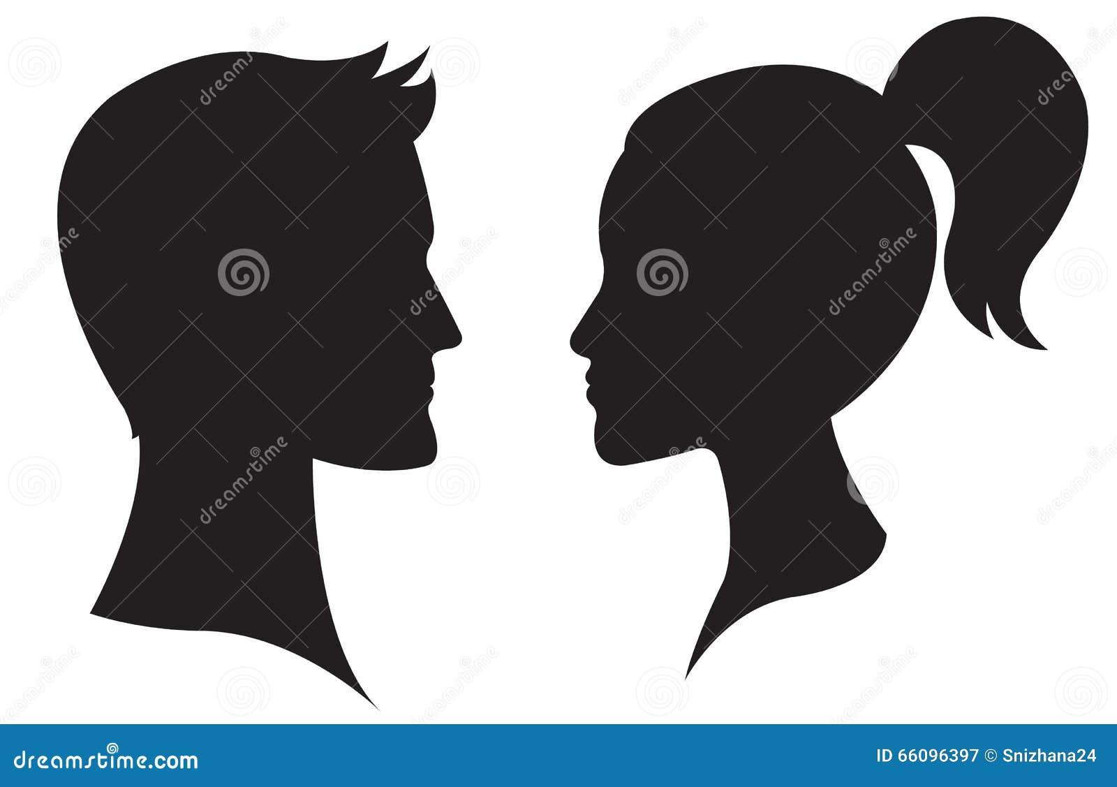 Profil de visage de femme et d 39 homme illustration de vecteur illustration du fille amour - Visage profil dessin ...
