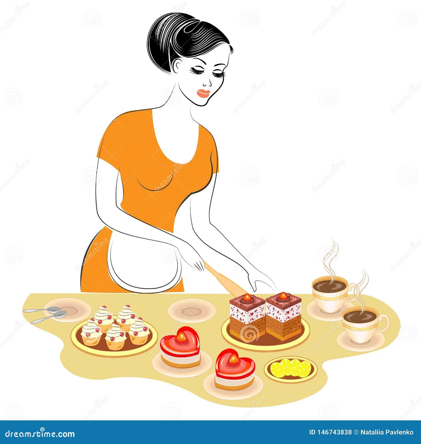 Profil einer sch?nen Dame Das M?dchen bereitet Nahrung zu Bereitet eine süße festliche Tabelle mit einem Kuchen und ein Tee oder