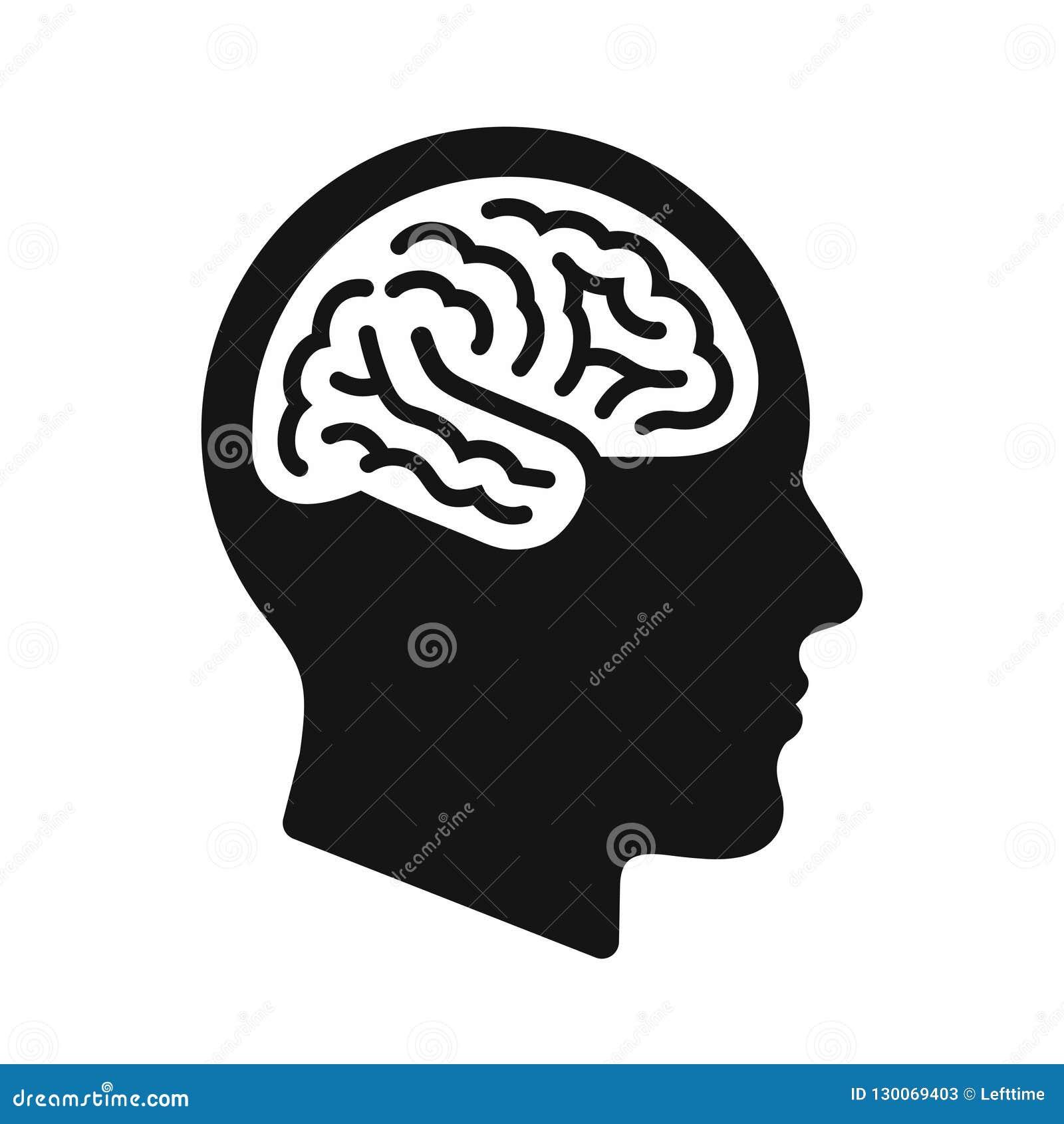 Profil för mänskligt huvud med hjärnsymbolet, svart symbolsvektorillustration