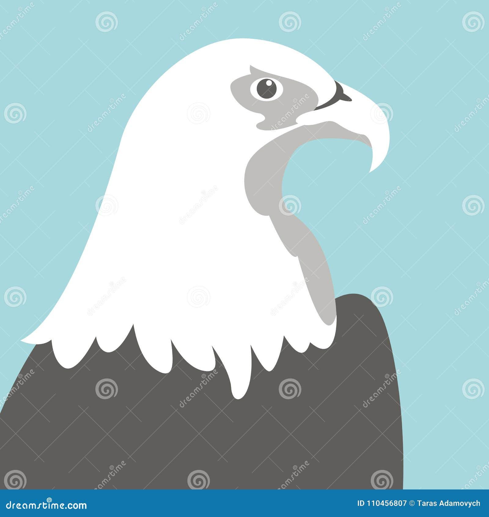 Profil för stil för lägenhet för illustration för Eagle huvudvektor