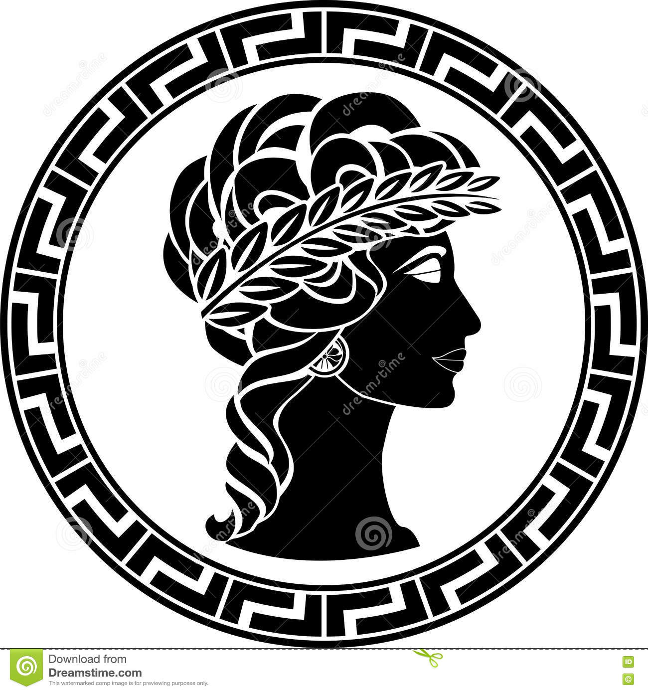 Profile Of Ancient Woman Stock Vector Illustration Of Crown 75504596