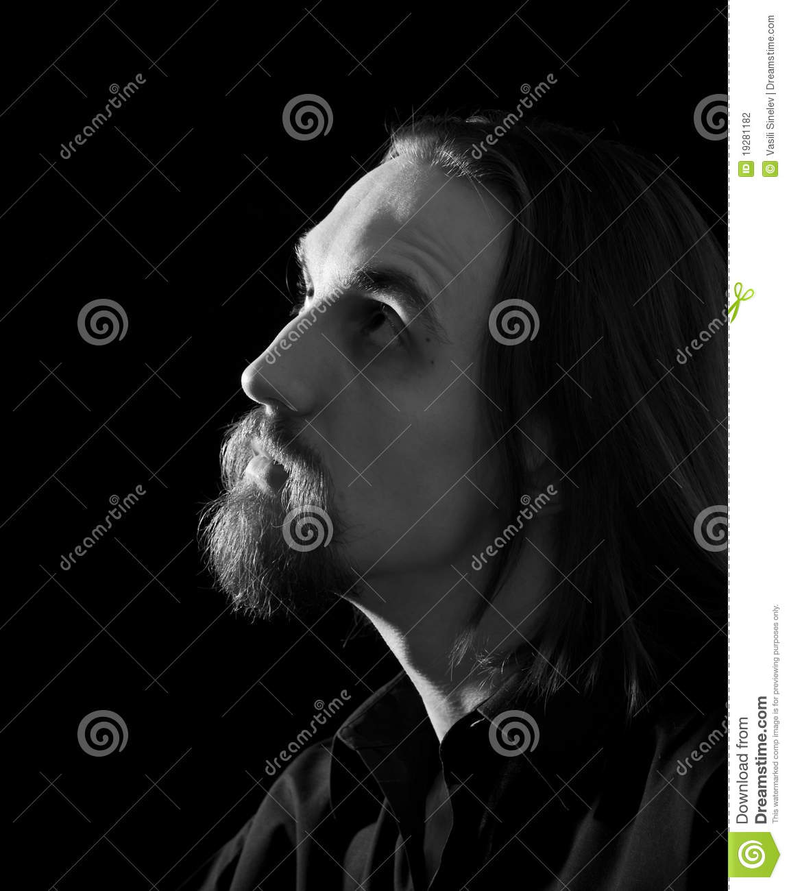 Man looking up profile