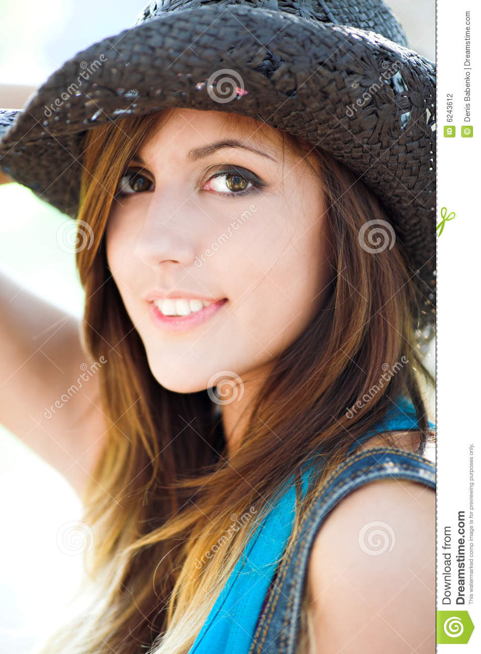 Profile Of Beautiful Smiling Girl Stock Photo - Image of ...