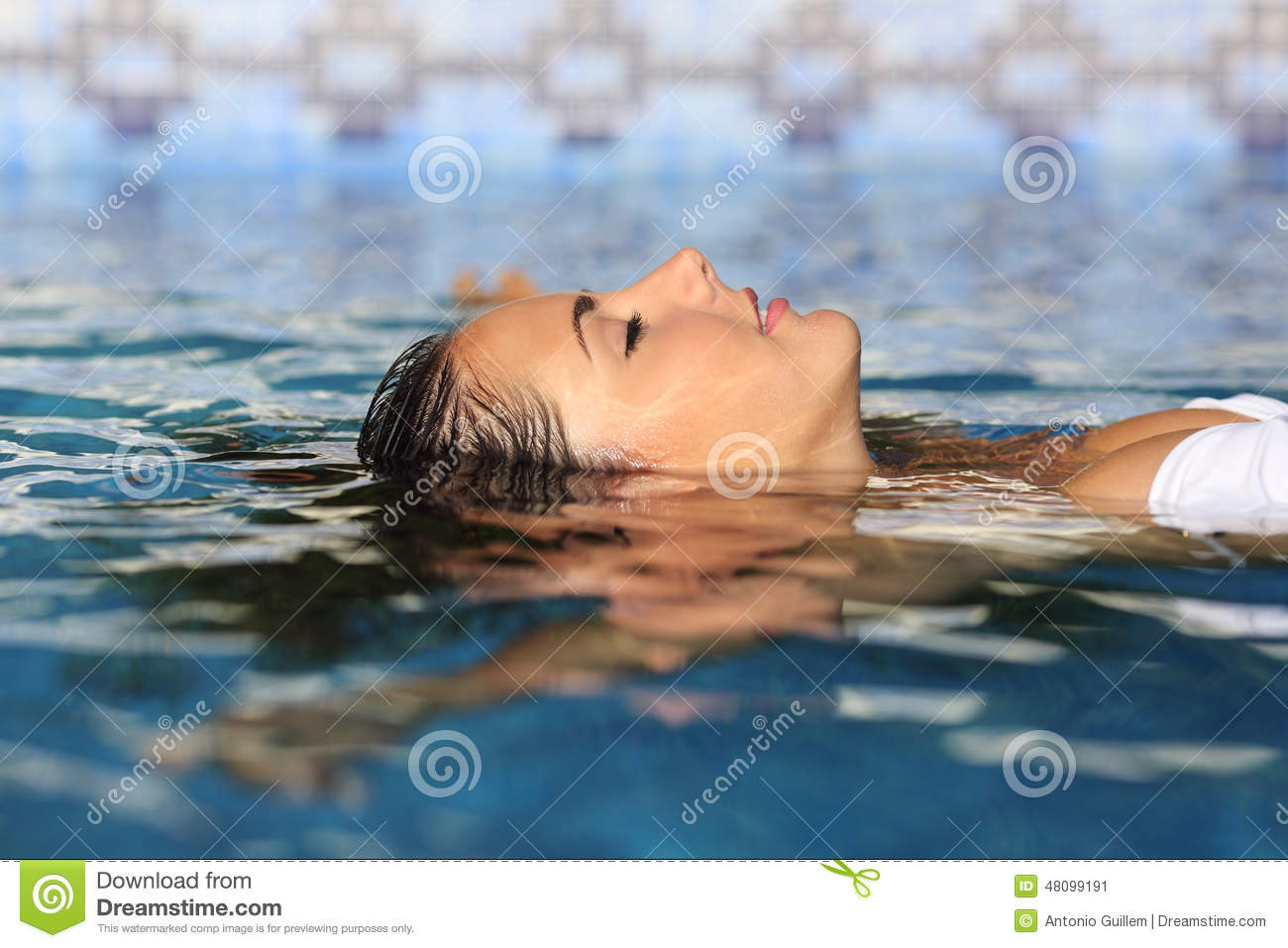 Profile Of A Beauty Relaxed Woman Face Floating In Water ...