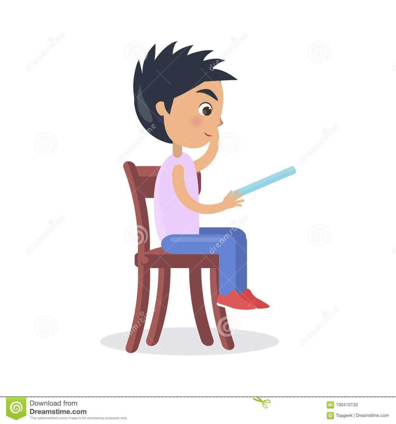 Outstanding Profile Of Boy Sitting On Chair Read Fairy Tale Stock Gmtry Best Dining Table And Chair Ideas Images Gmtryco