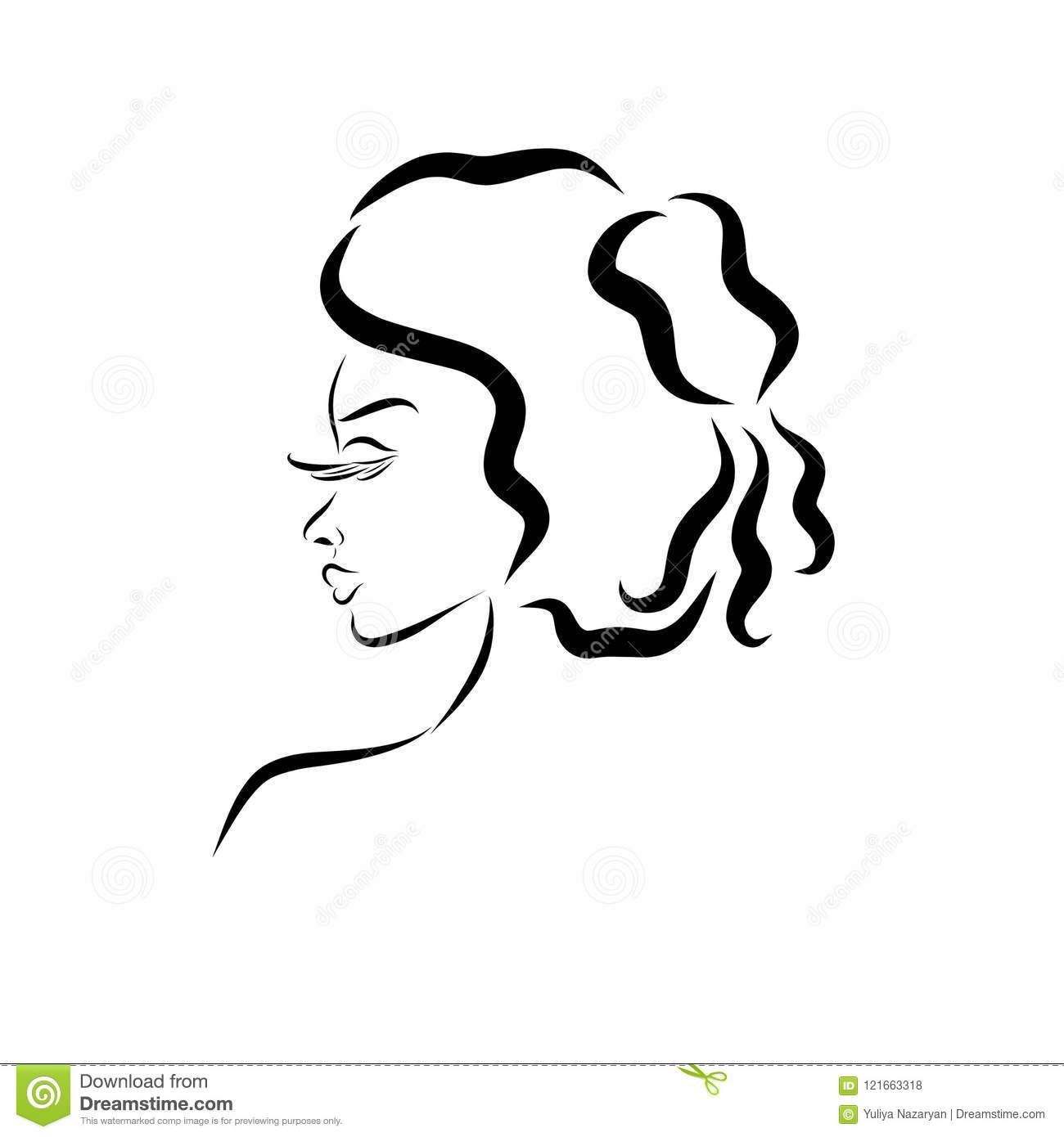 Profile of a charming lady with an aristocratic hairdo