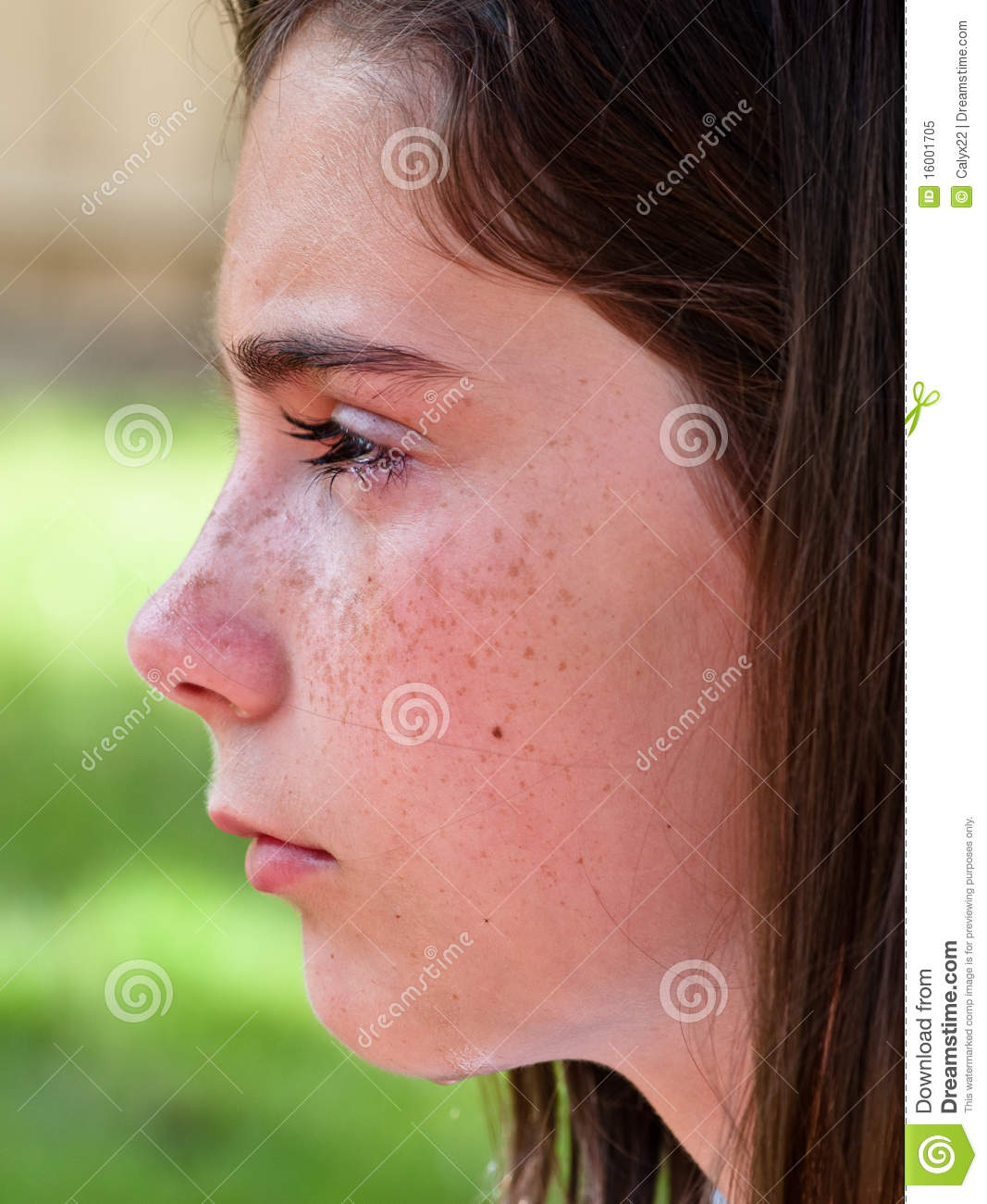 profile of crying girl royalty free stock photo