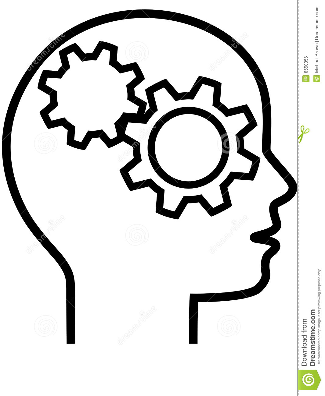 Profile Of Gear Head Brain Thinker Outline Royalty Free ...