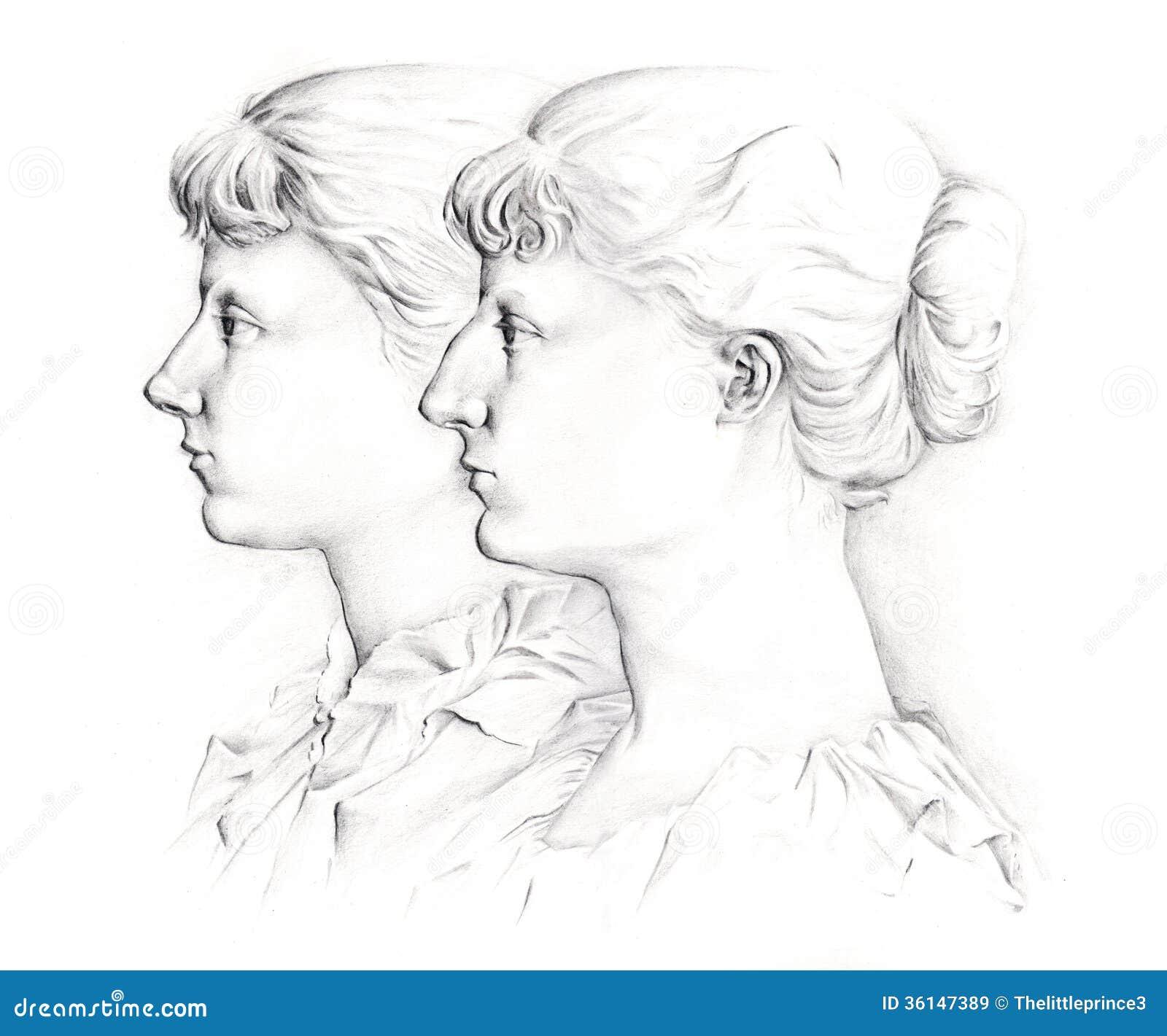 Profile Girls Stock Illustration Illustration Of Girl 36147389