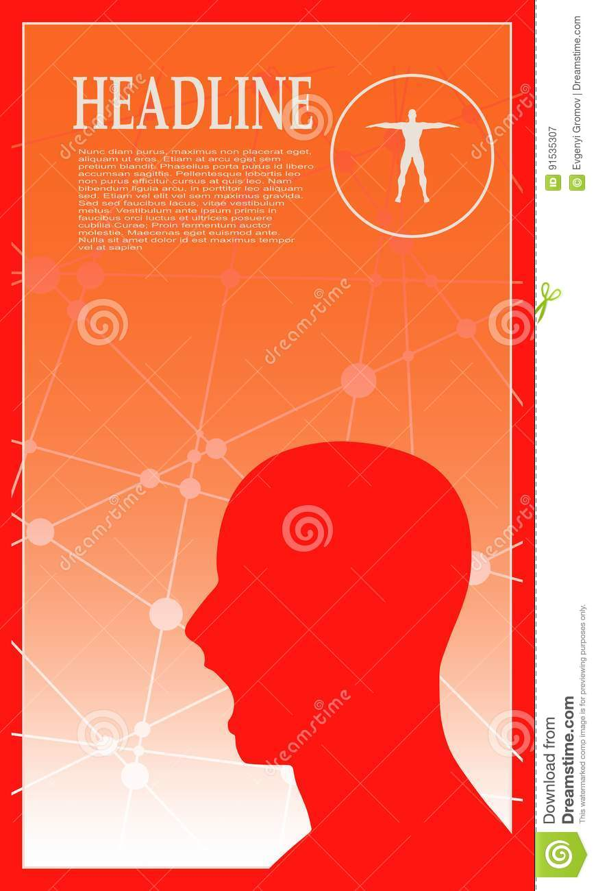Profile Of The Head Of A Man  Brochure Template Stock Vector