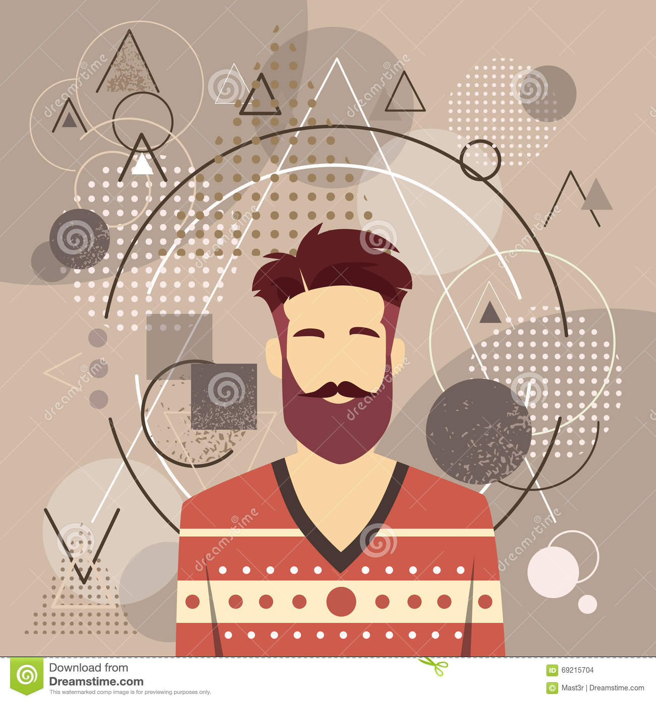 Male Avatar With Hipster Style Royalty-Free Cartoon ...