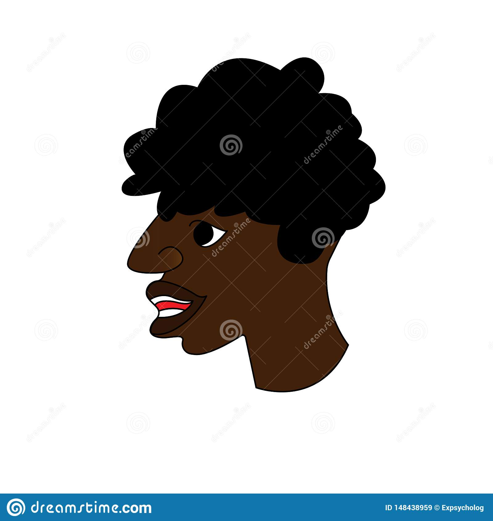 Profile of a man African American. Portrait of a guy. Avatar. Vector Flat Illustration