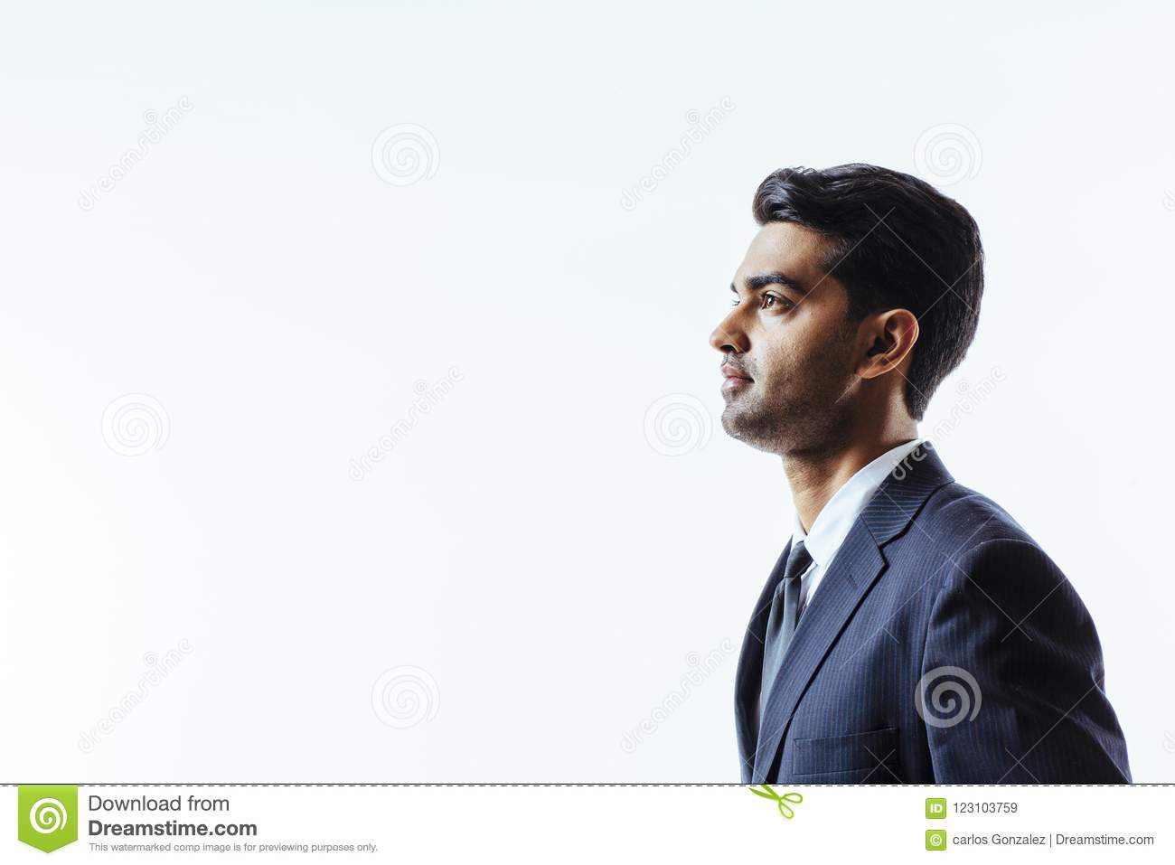 Profile portrait of a handsome man in suit
