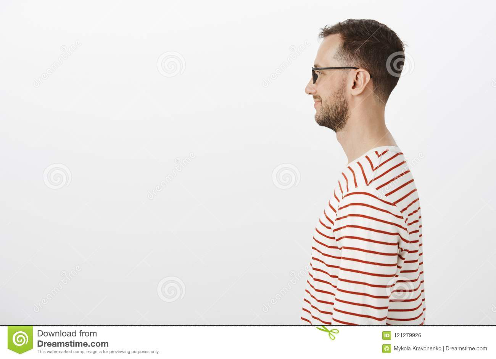 Geekin Gorgeous profile portrait of pleased happy geek in black glasses