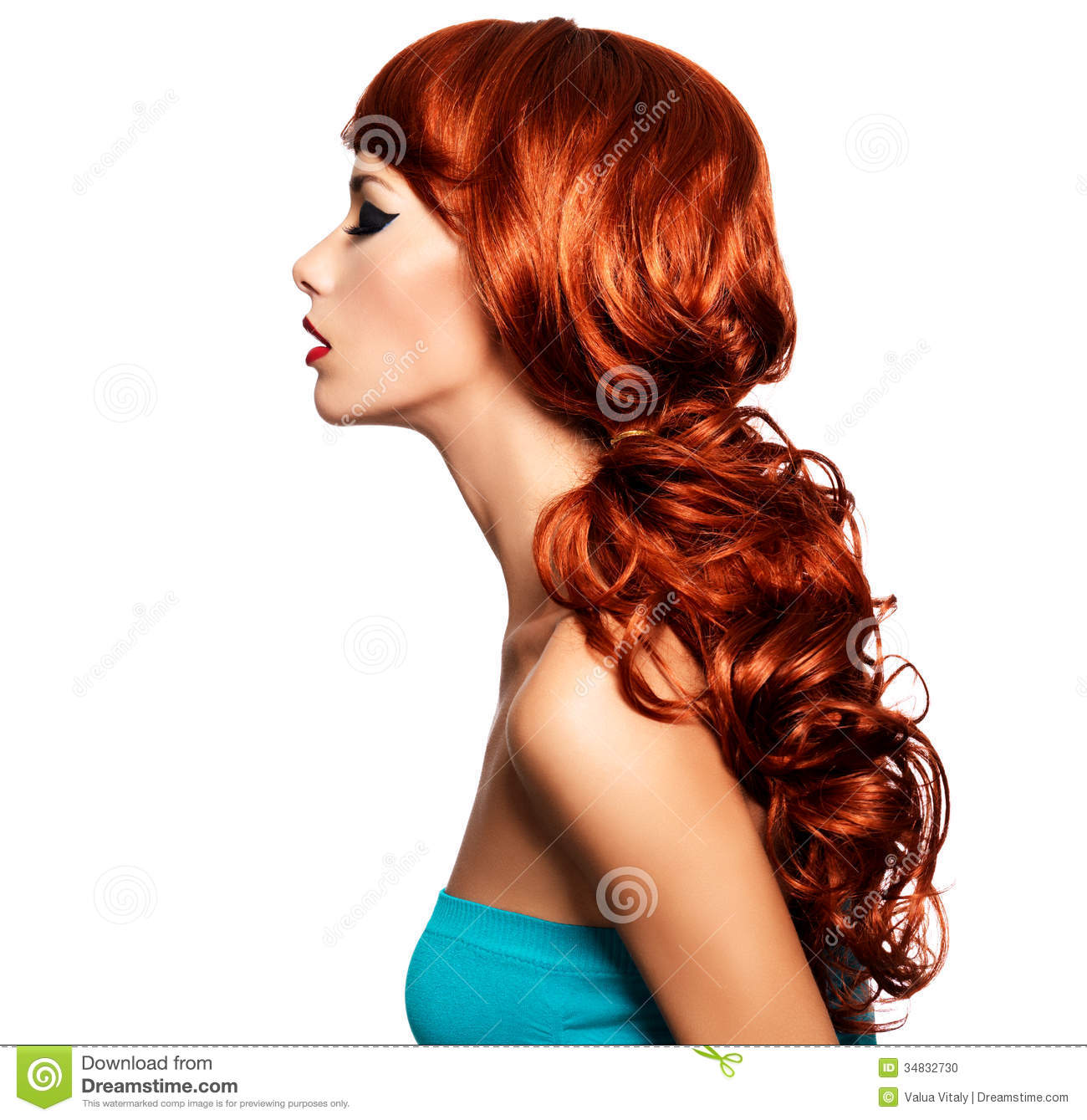 Profile Portrait Of A Woman With Long Red Hairs Stock Photo Image
