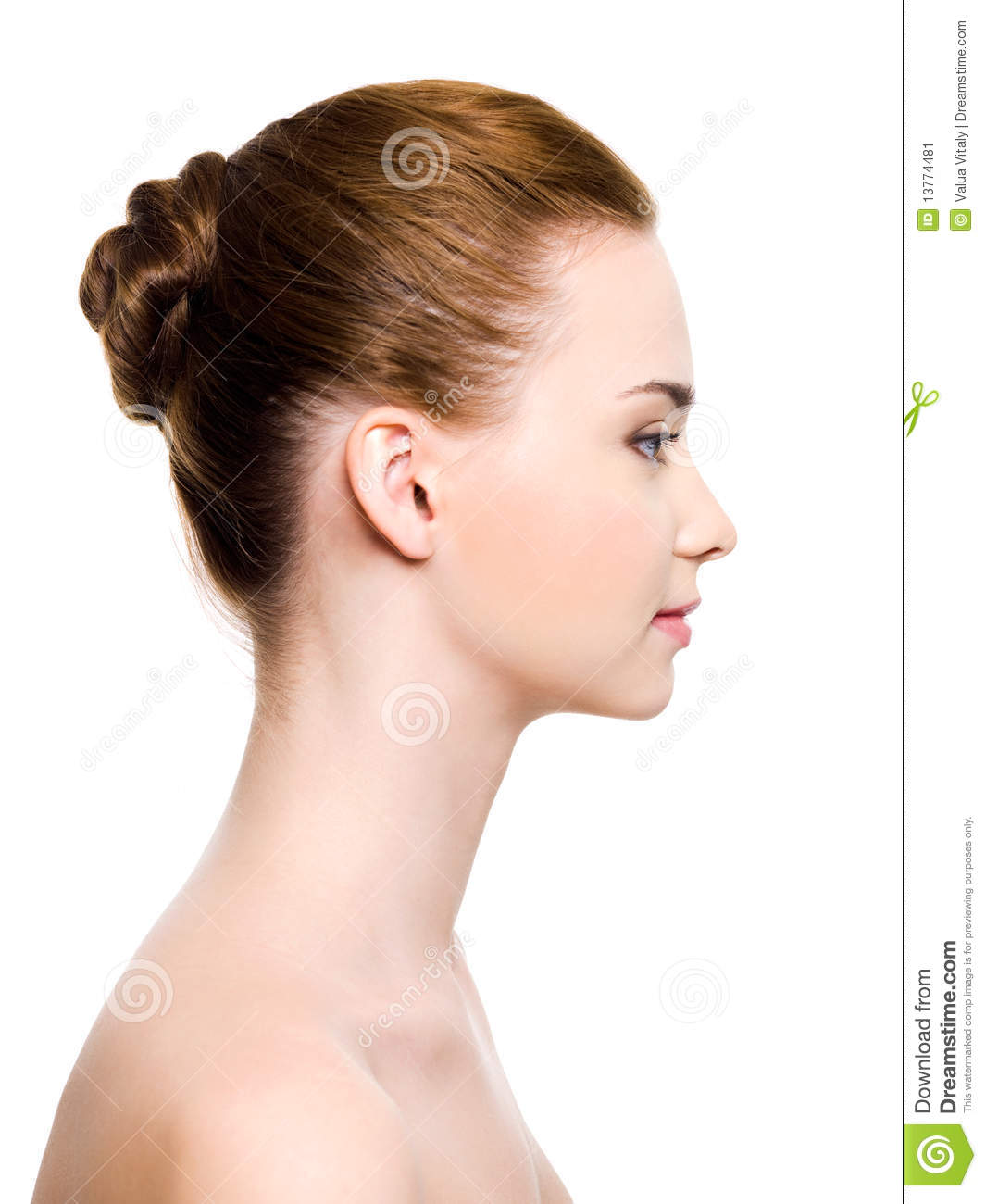Profile portrait of an young woman face