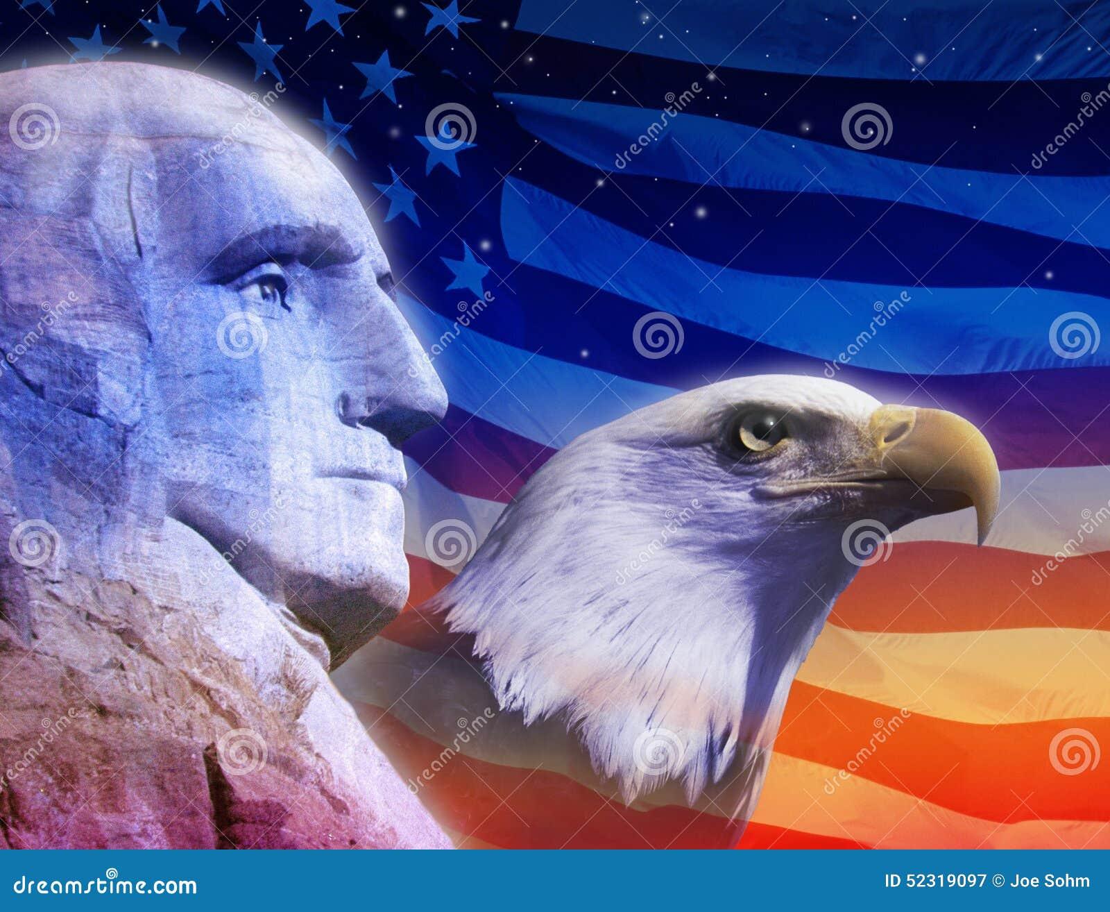 profile of president george washington the american flag