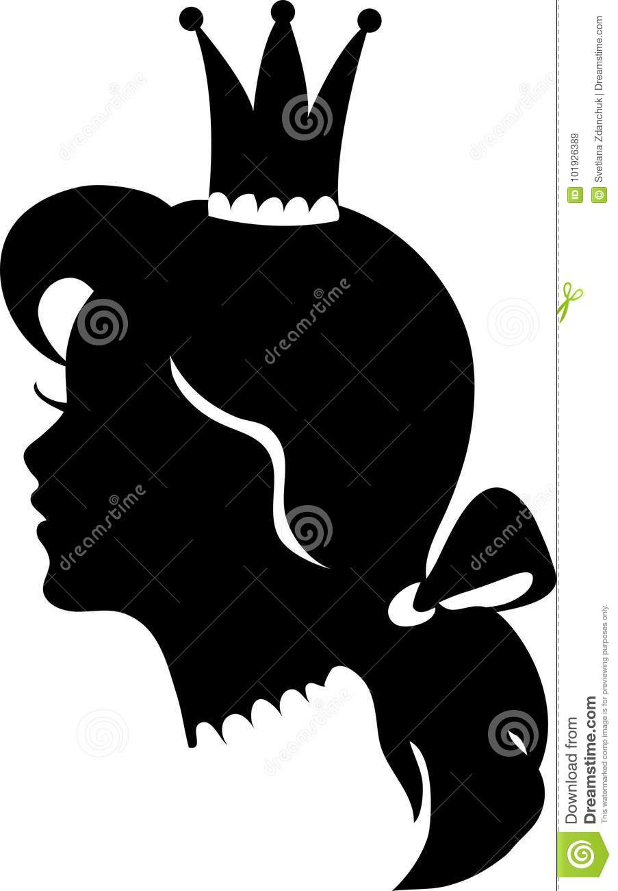 profile of a princess or queen vector silhouette illustration