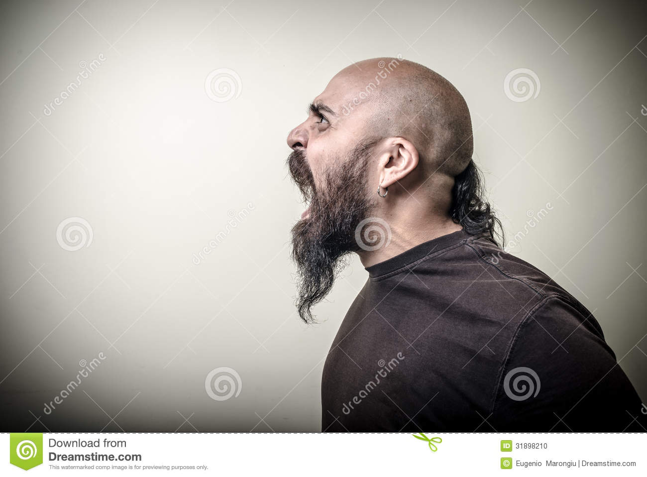 Profile Screaming Angry Bearded Man Stock Photo - Image ...