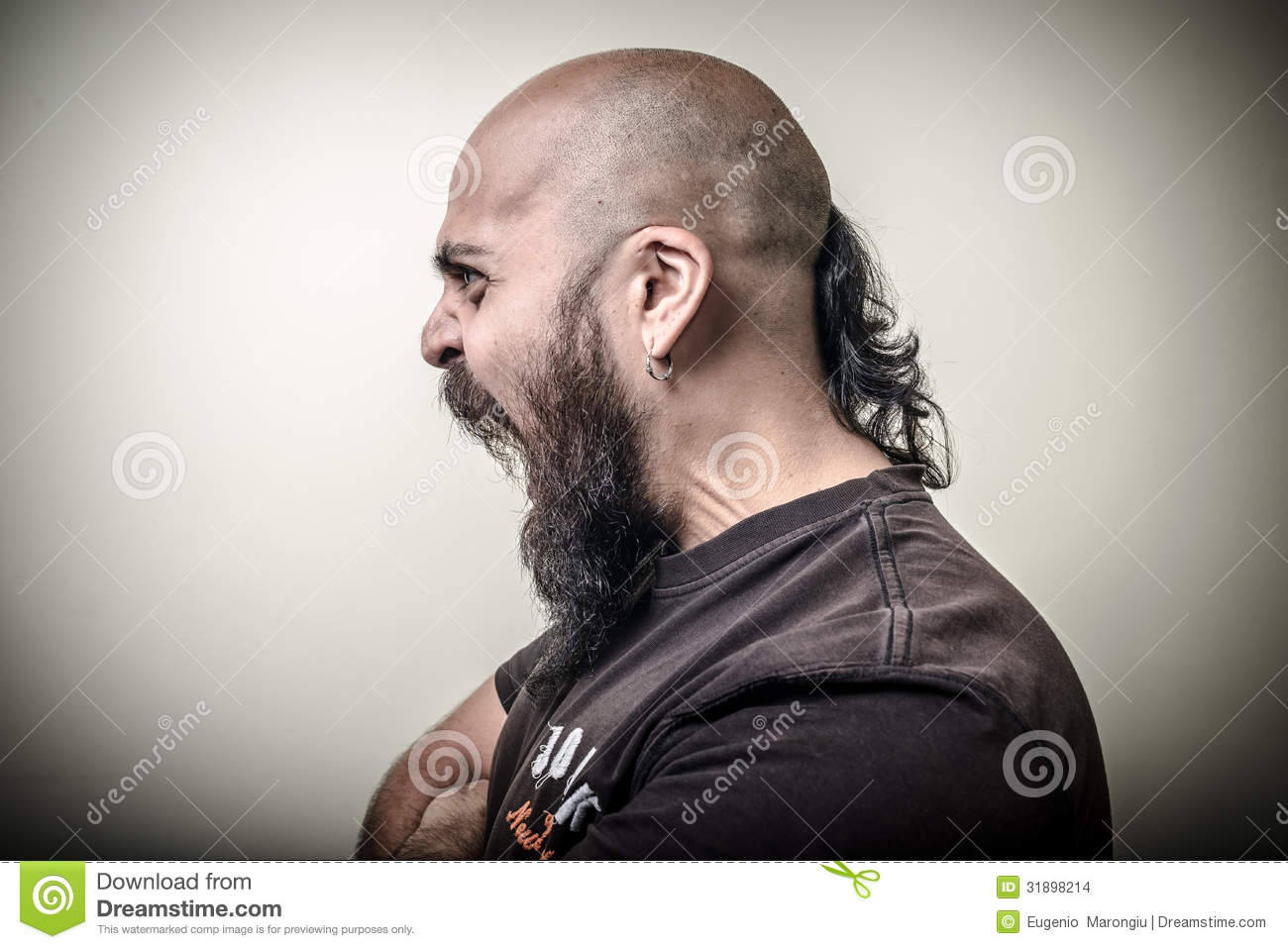 Profile Screaming Angry Bearded Man Stock Images - Image ...