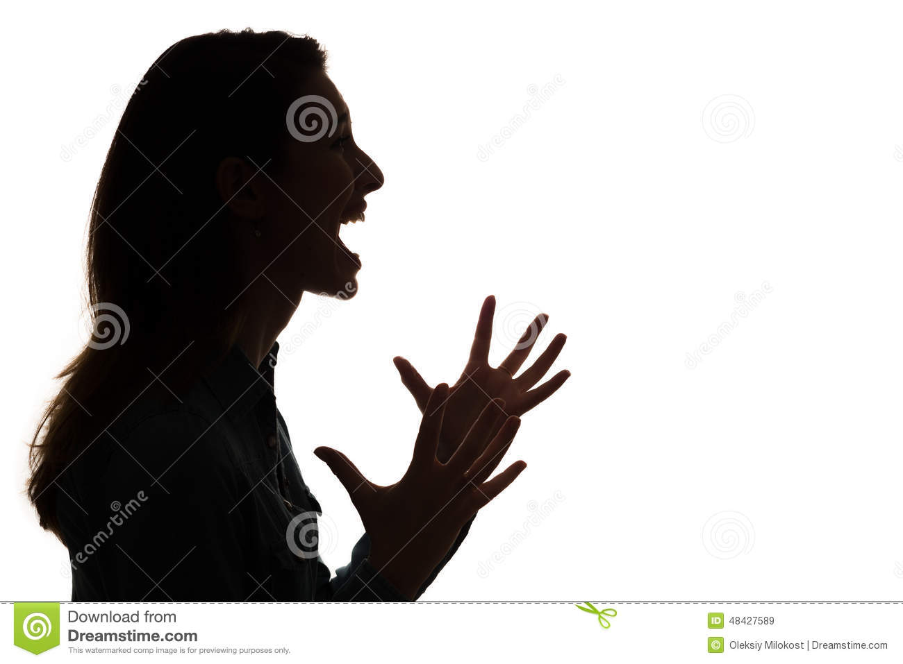 Woman Silhouette. Screaming Woman Behind The Glass. Stock Photo ...
