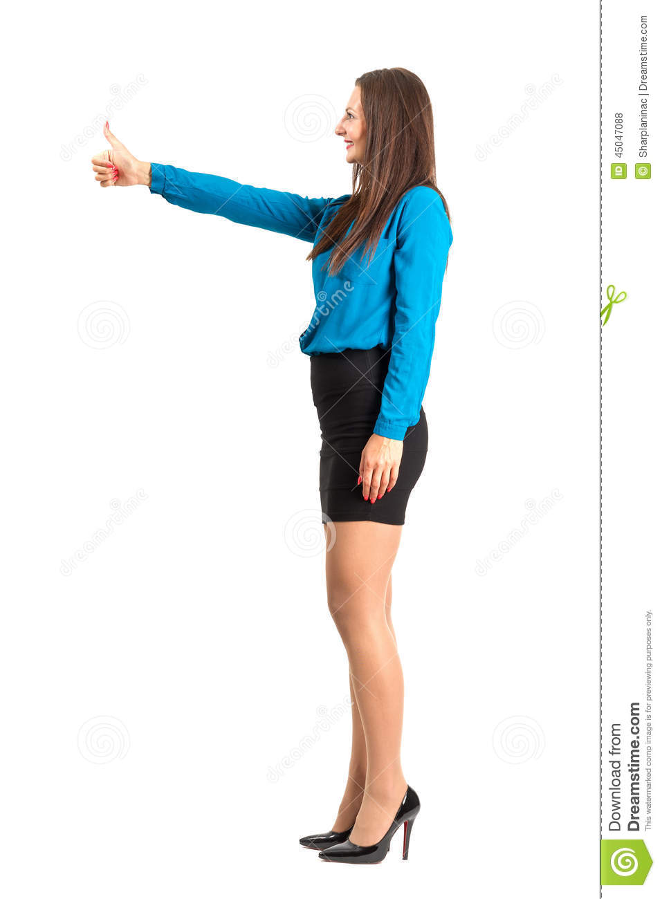 Profile Side View Of Business Woman With Thumbs Up Gesture