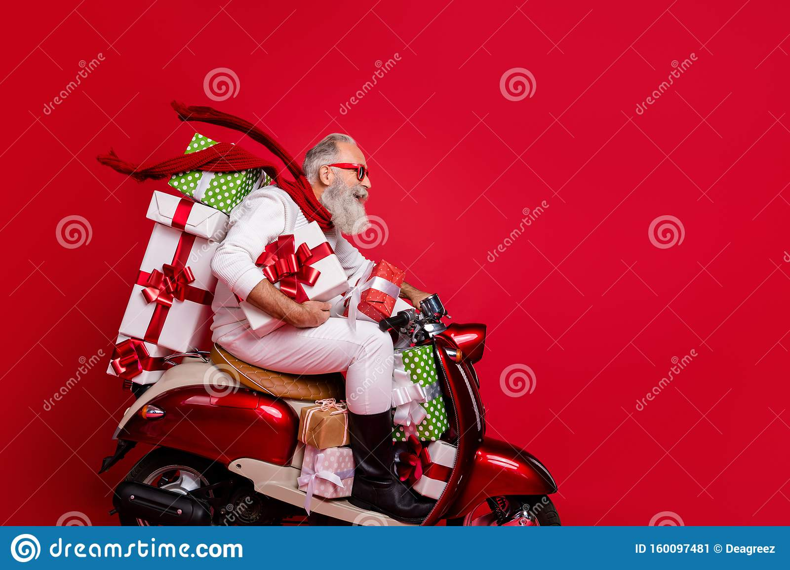Profile Side View Of Nice Attractive Funky Cheery Bearded Gray Haired Man Riding Motor Carrying Pile Stack New Desirable Stock Image Image Of Bike Moped 160097481