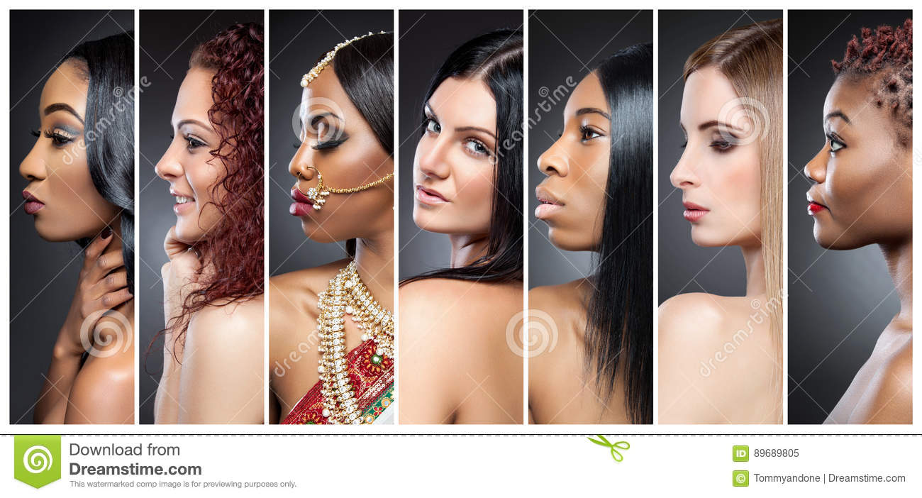 Download Profile View Collage Of Multiple Women With Various Skin Tones Stock Image - Image of haircut, black: 89689805