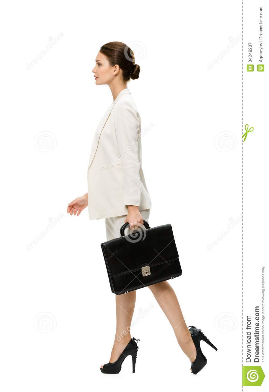 Profile Of Walking Business Woman With Black Case Royalty ...
