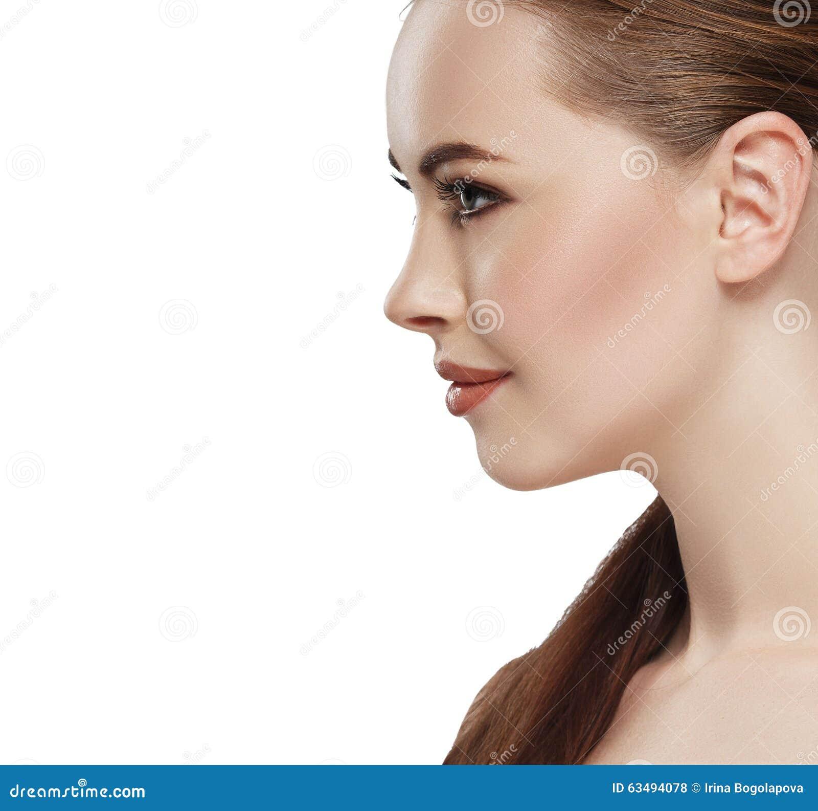 Beautiful Woman Glamour Clean Skin Face Portrait Profile