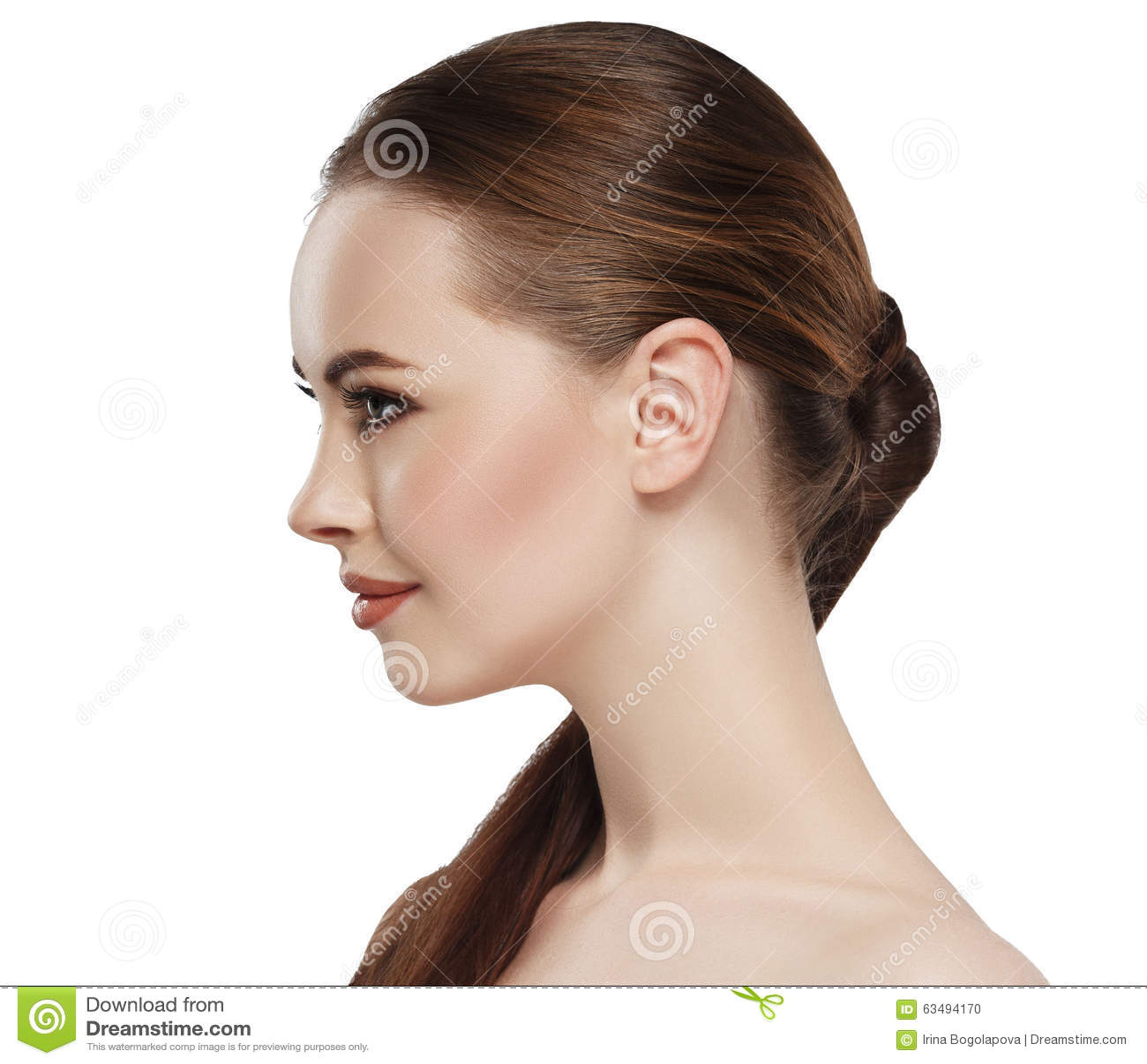 Profile Woman Beauty Skin Face Neck Ear Stock Photo