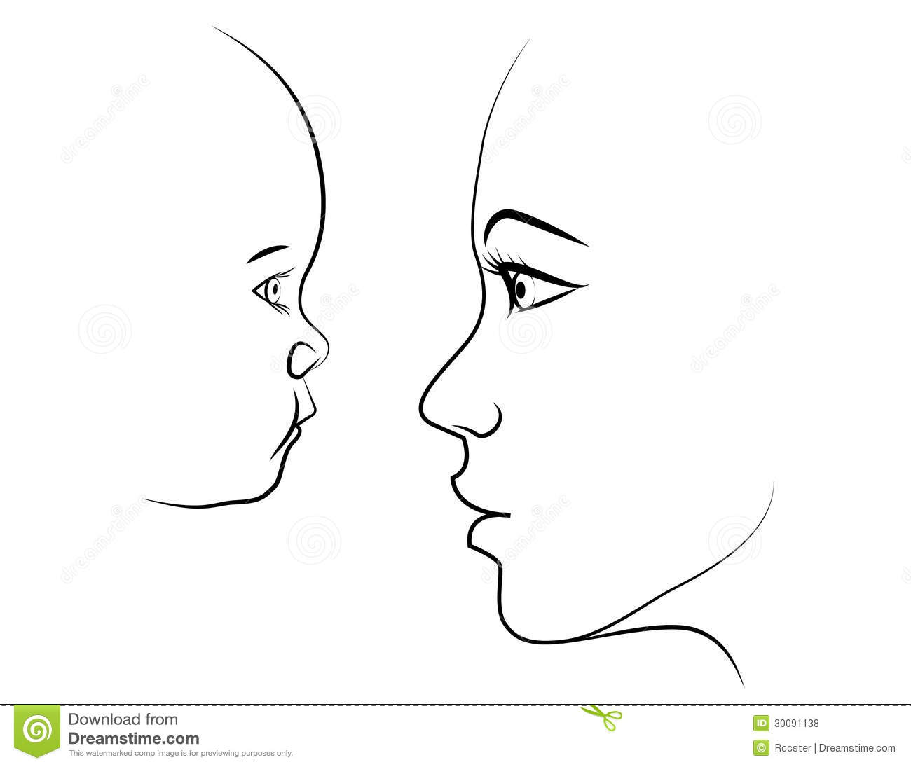 Side Face Line Drawing : Mother and child face to royalty free stock photos
