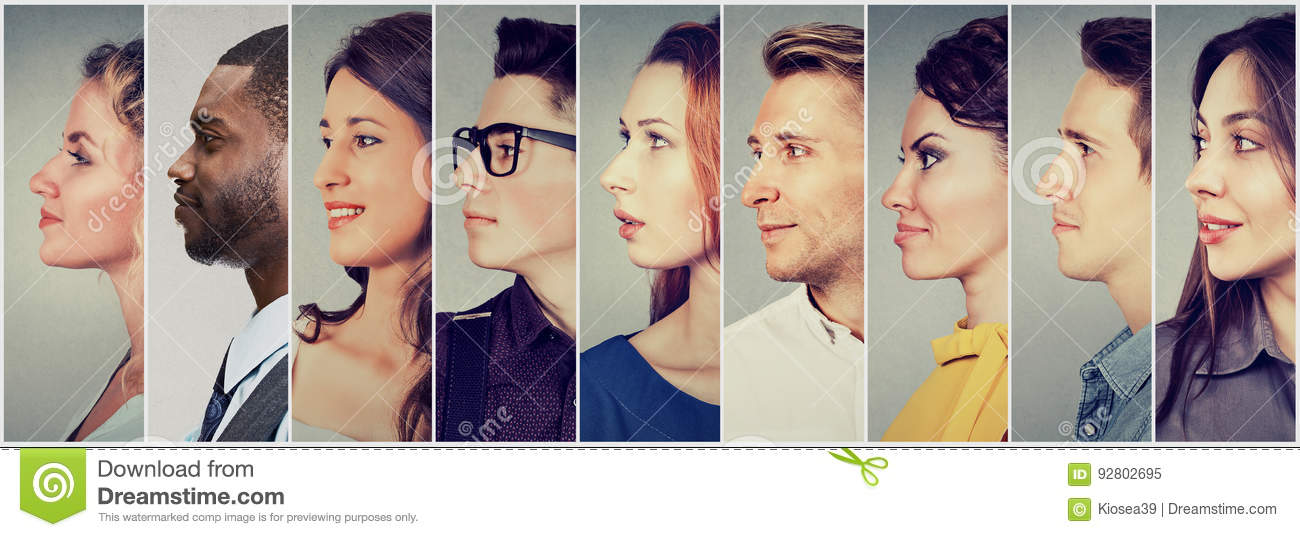 Profiles of multicultural people men and women