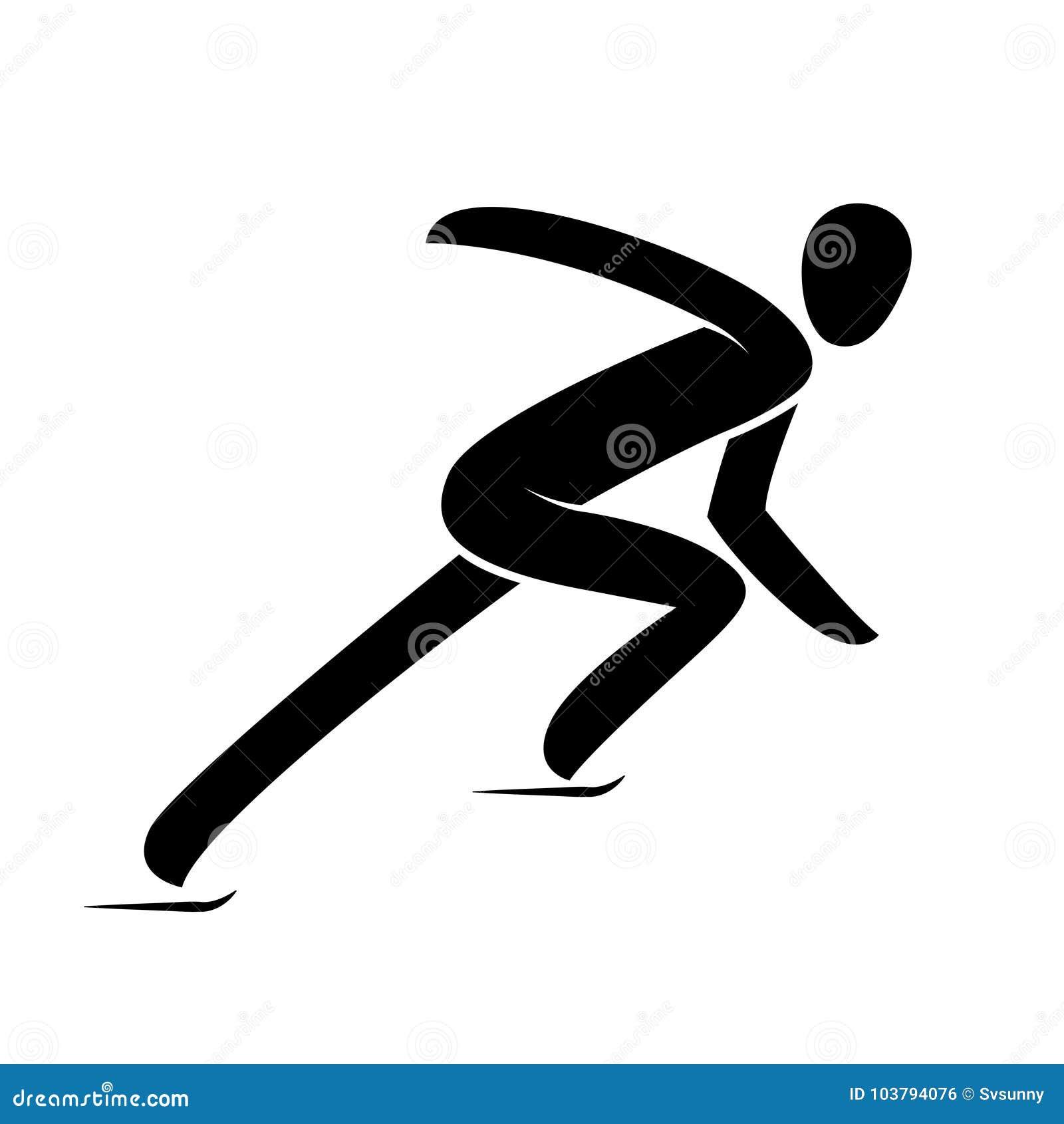 Profili breve l illustrazione di vettore isolata di pattinaggio di velocità della pista atleta