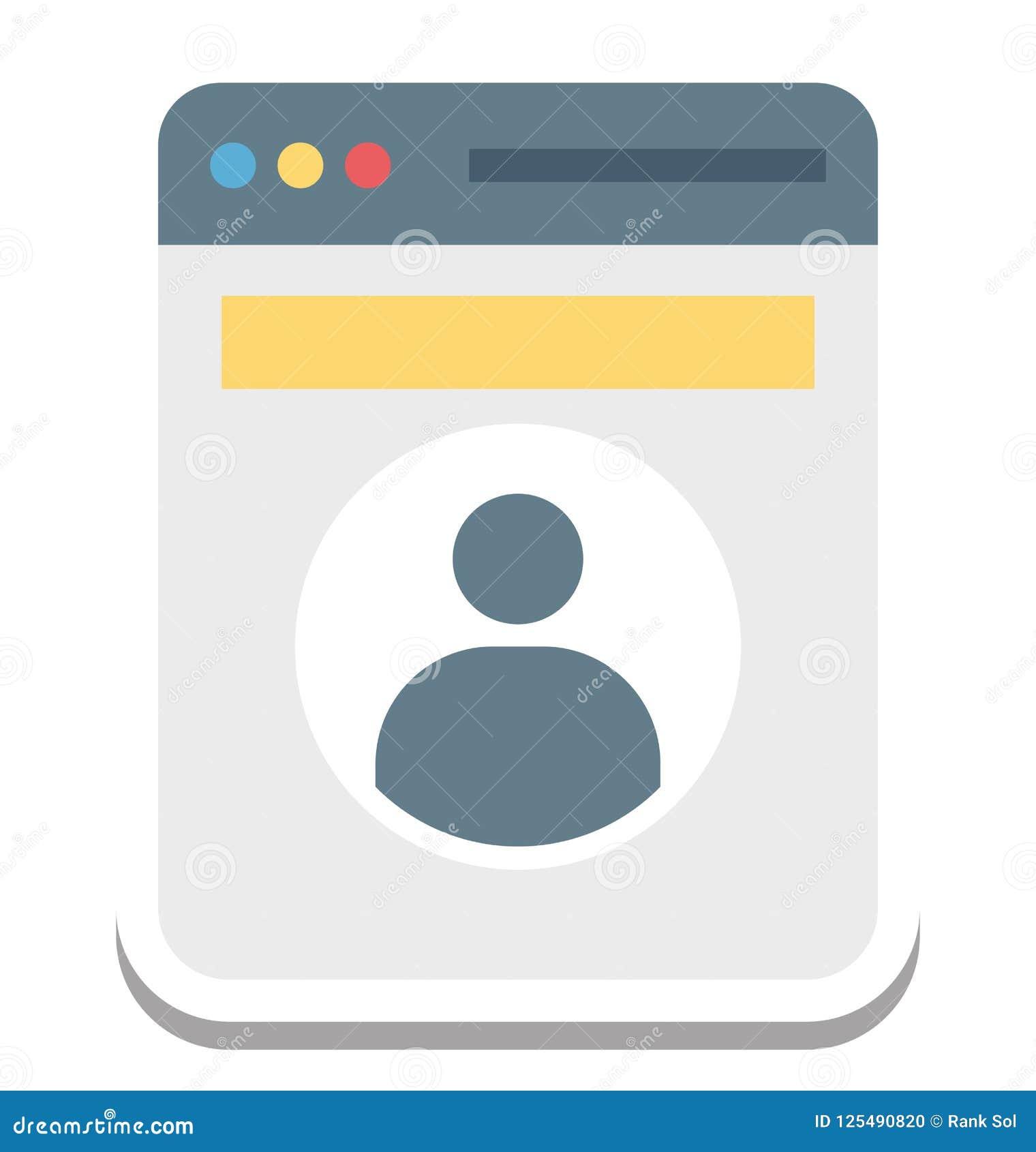 Profili il pop-up, icona di vettore di profilo di web editabile