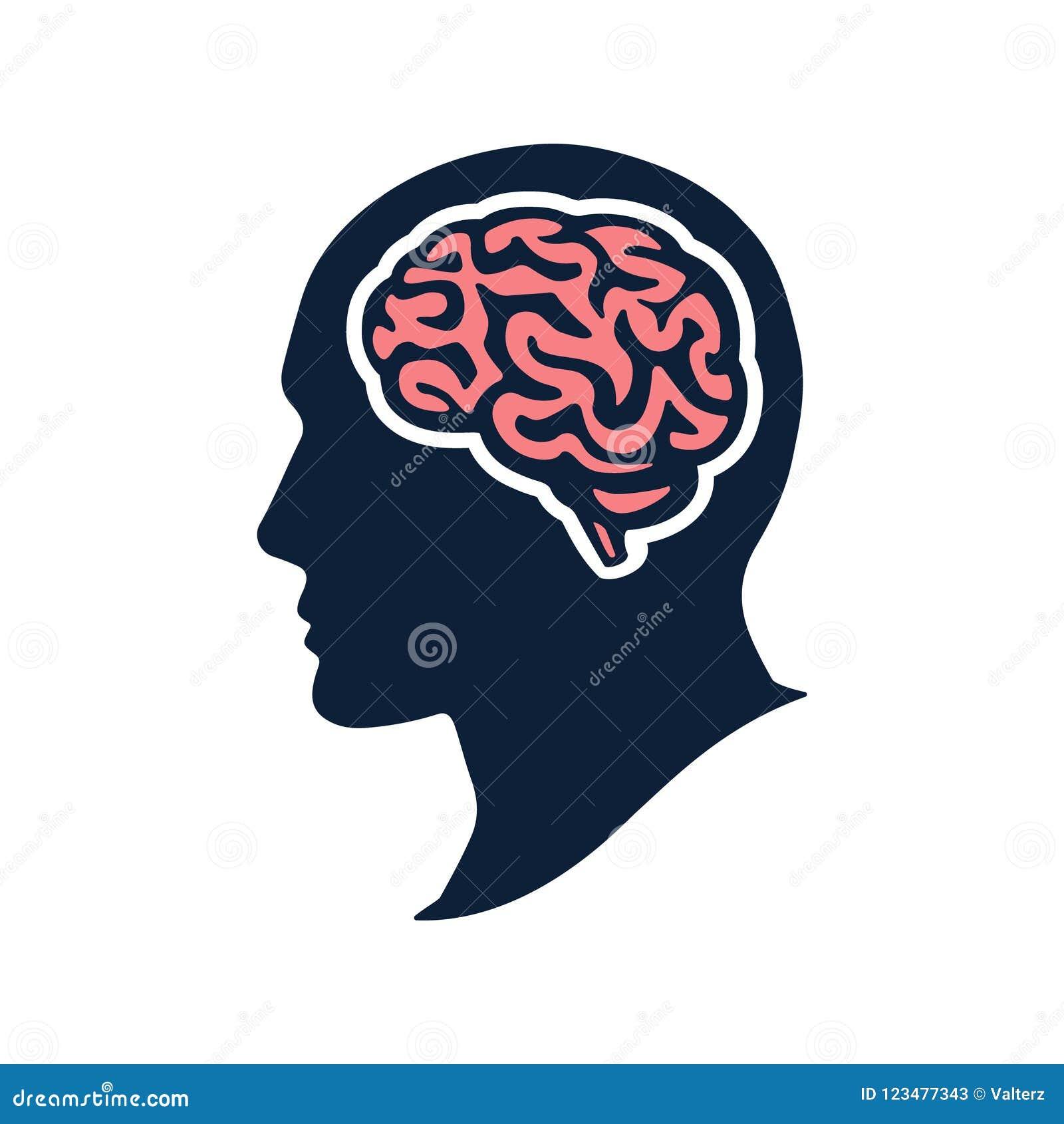 Profili la testa con il illustation piano di vettore del cervello isolata su bianco