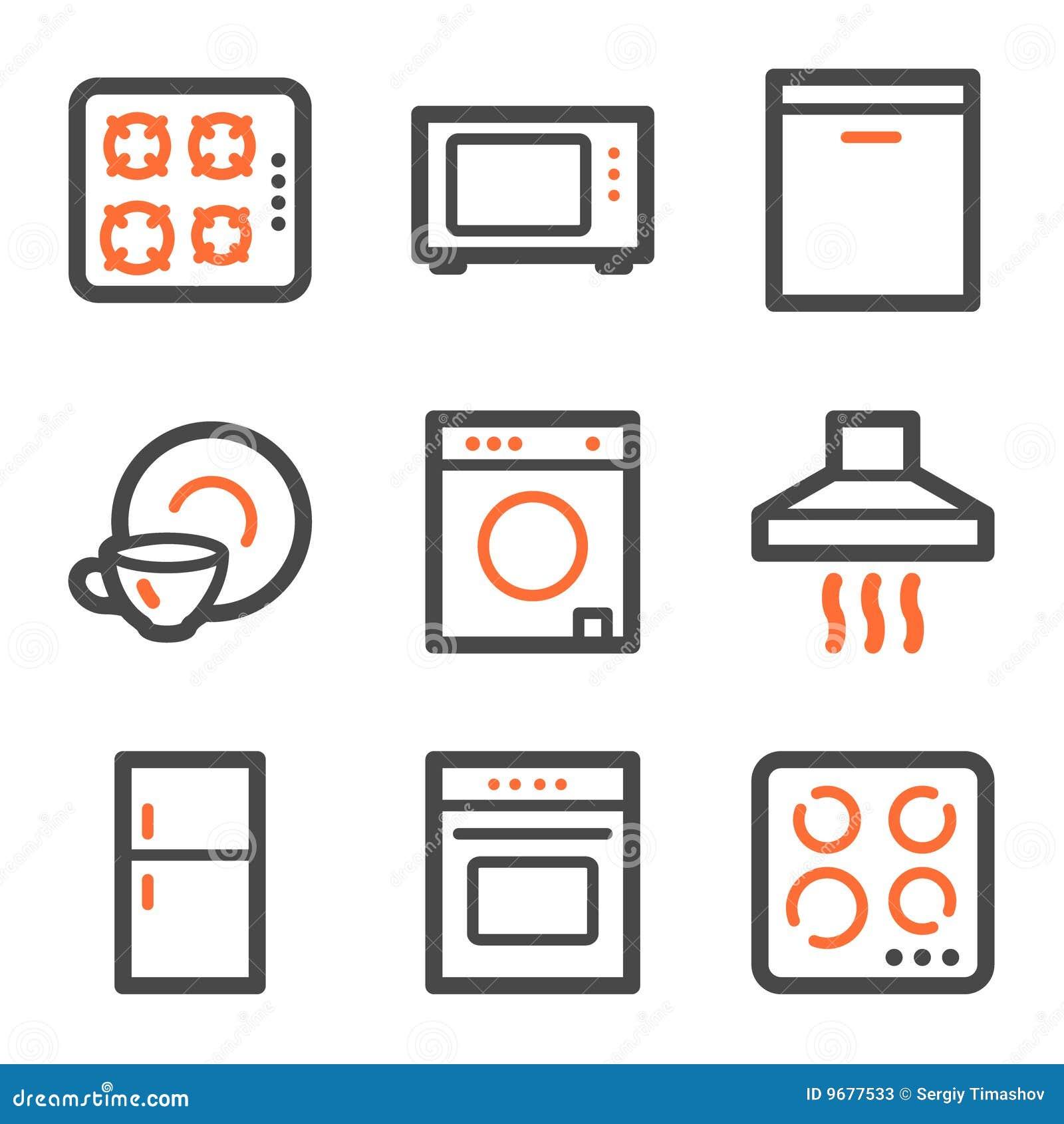 Profilo Arancione E Grigio Delle Icone Di Web Degli