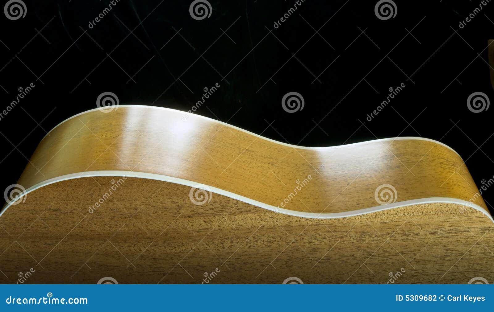Download Profilo Della Chitarra Acustica Sul Nero Fotografia Stock - Immagine di legno, nero: 5309682