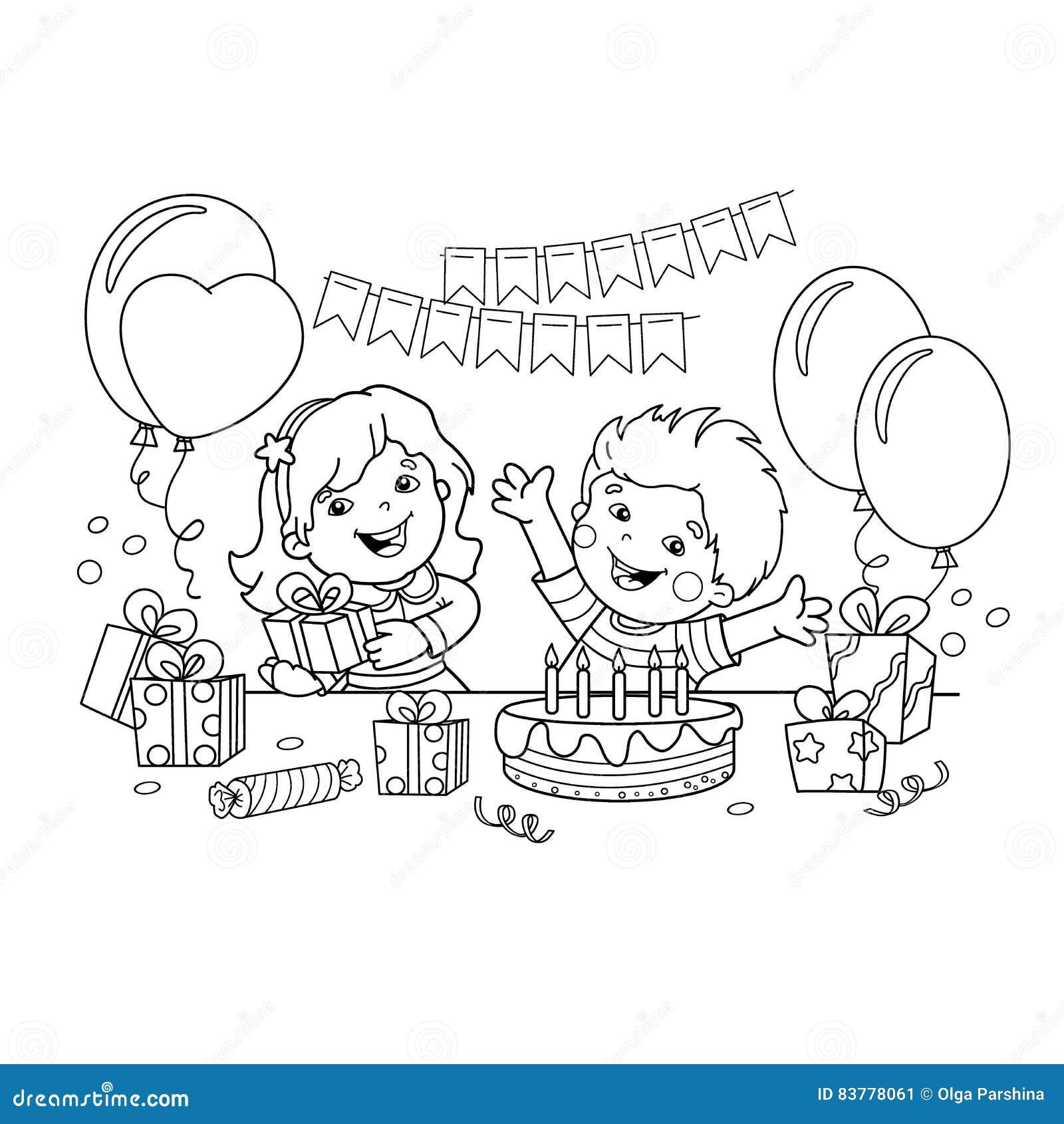 Estremamente Profilo Della Pagina Di Coloritura Dei Bambini Con Regali Alla  GZ38