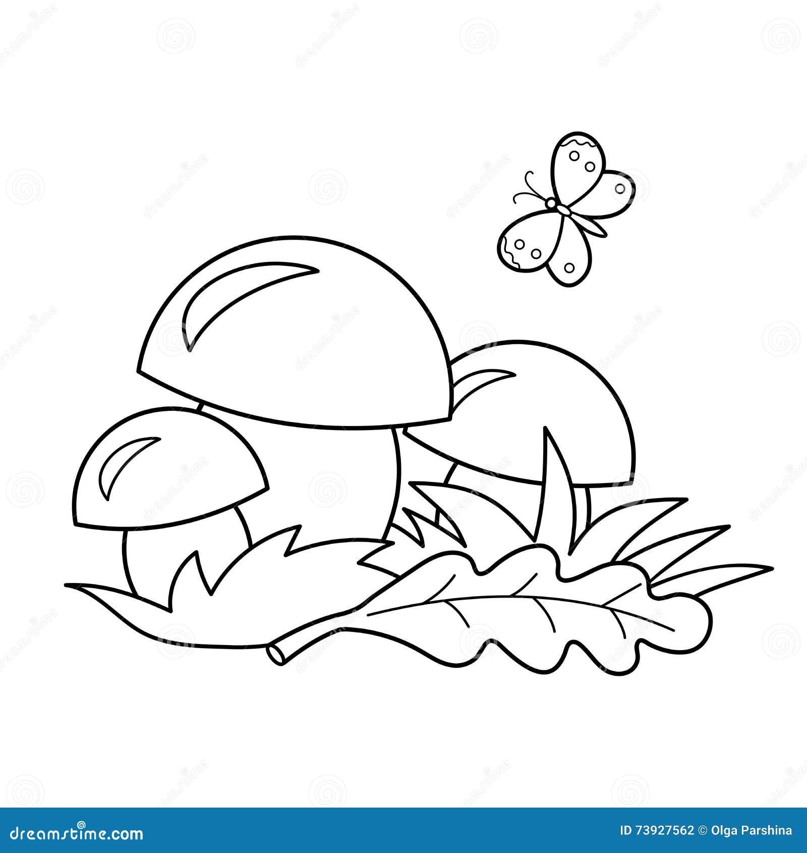 Profilo Della Pagina Di Coloritura Dei Funghi Del Fumetto