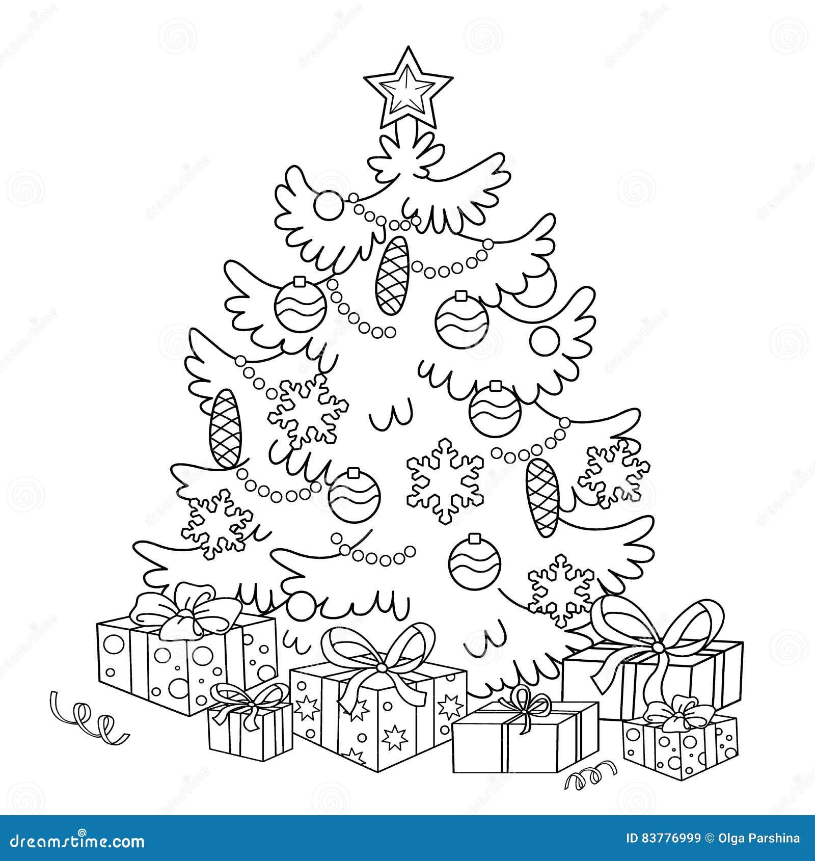Immagini Dell Albero Di Natale Da Colorare.Profilo Della Pagina Di Coloritura Dell Albero Di Natale Del
