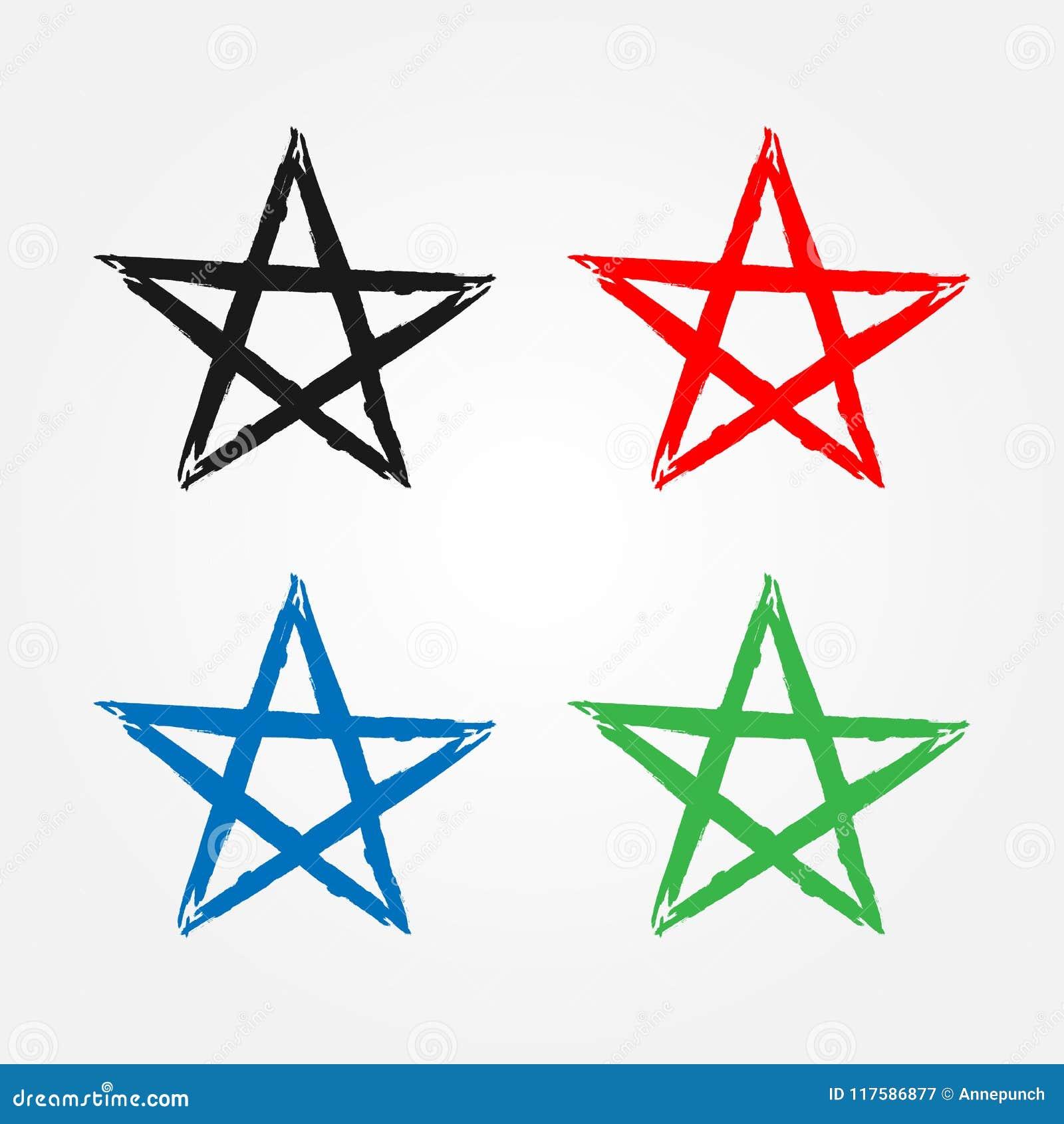 Profilo della stella disegnato a mano con la spazzola ruvida Icona isolata, simbolo, segno