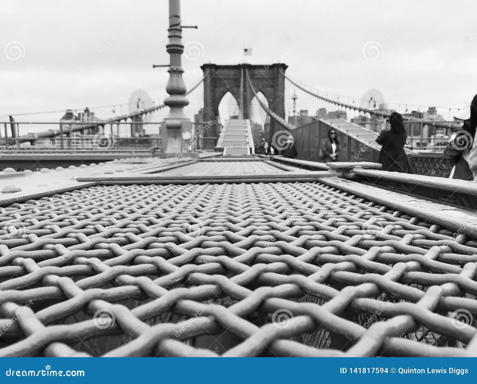 Profilo laterale in bianco e nero del ponte di Brooklyn